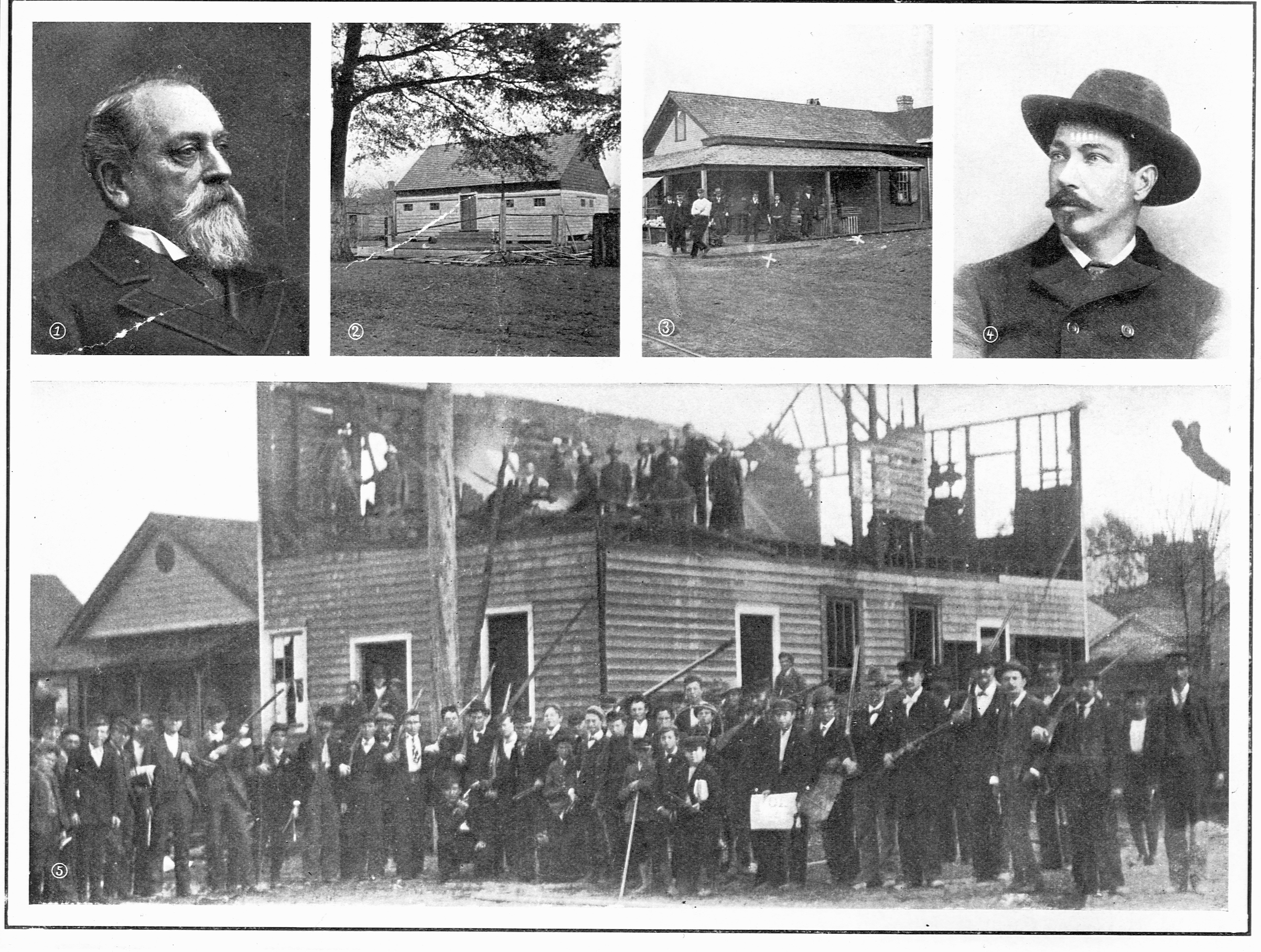 Coup in Wilmington, N.C., 1898: (1) Dr. S.P. Wright, the deposed mayor; (2) Armory, HQ of troops; (3) shanty where shooting took place; (4) Editor A.L. Manley, of the  Record ; (5) Naval reserves and troops escorting Black prisoners to jail