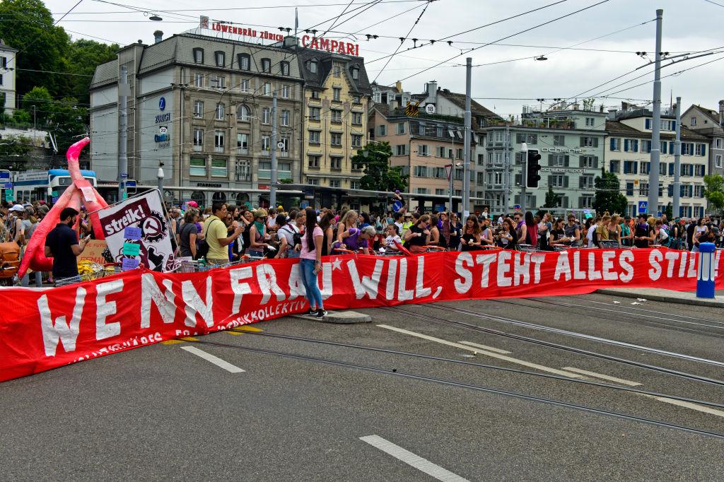 Banner displaying the slogan If women want, everything comes to a standstill, women's strike 14 June 2019, Zurich, Switzerland.