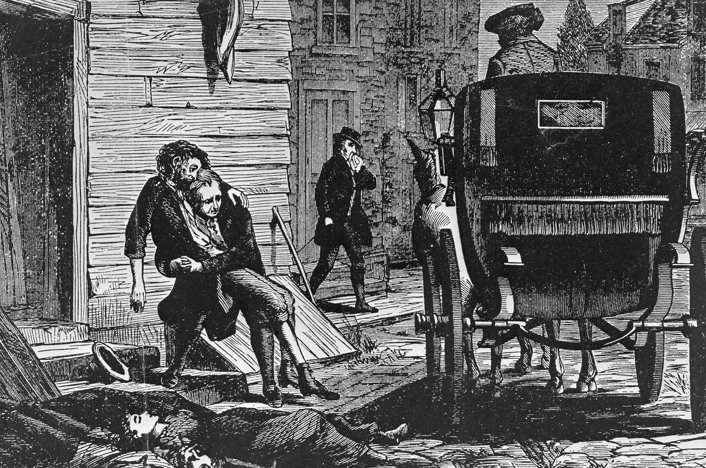 Woodcut print depicts yellow fever epidemic in Philadelphia, 1793. Carriages rumbled through the streets to pick up the dying and the dead.