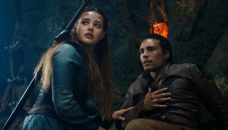 Katherine Langford as Nimue and Devon Terrell as Arthur in 'Cursed'