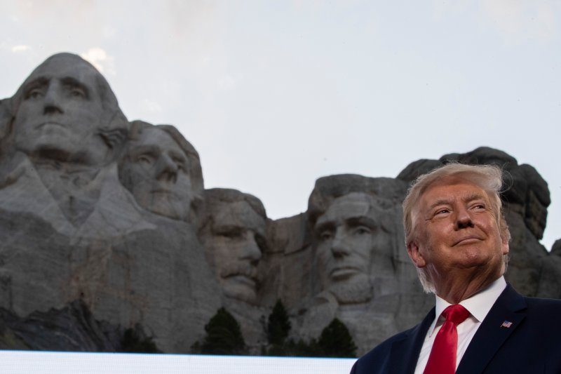 President Donald Trump smiles at Mount Rushmore National Memorial, on July 3, 2020, near Keystone, S.D.