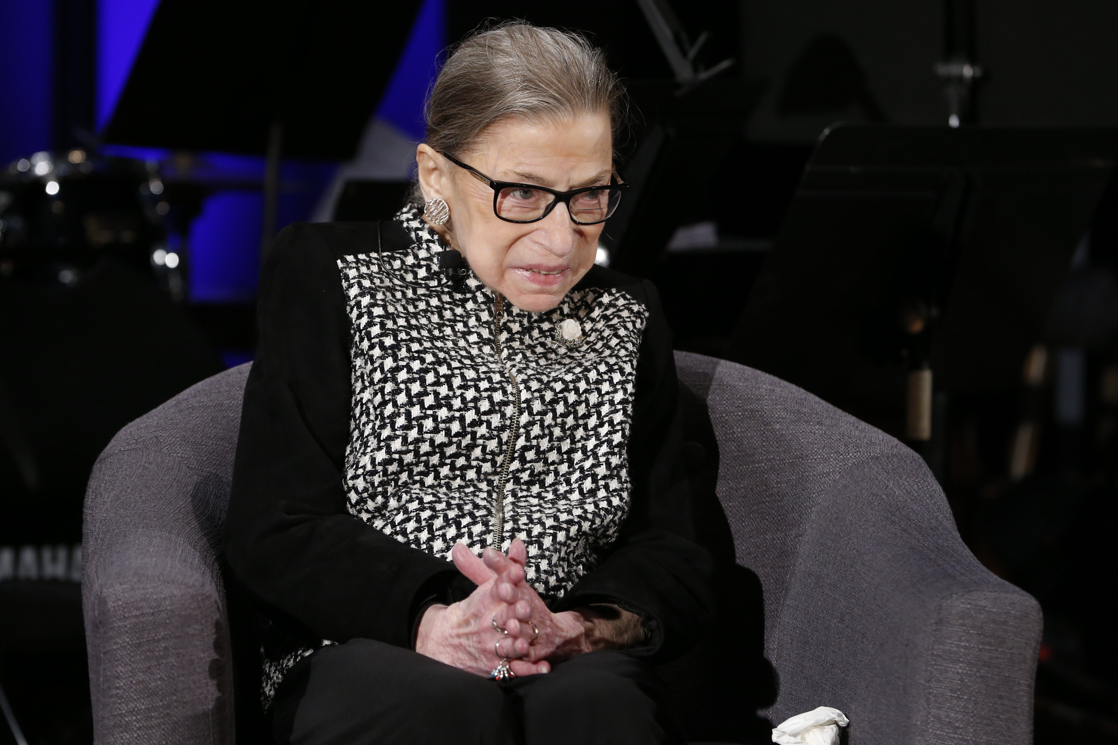 Supreme Court Justice Ruth Bader Ginsburg speaks with author Jeffrey Rosen at the National Constitution Center Americas Town Hall at the National Museum of Women in the Arts in Washington, on Dec. 17, 2019.
