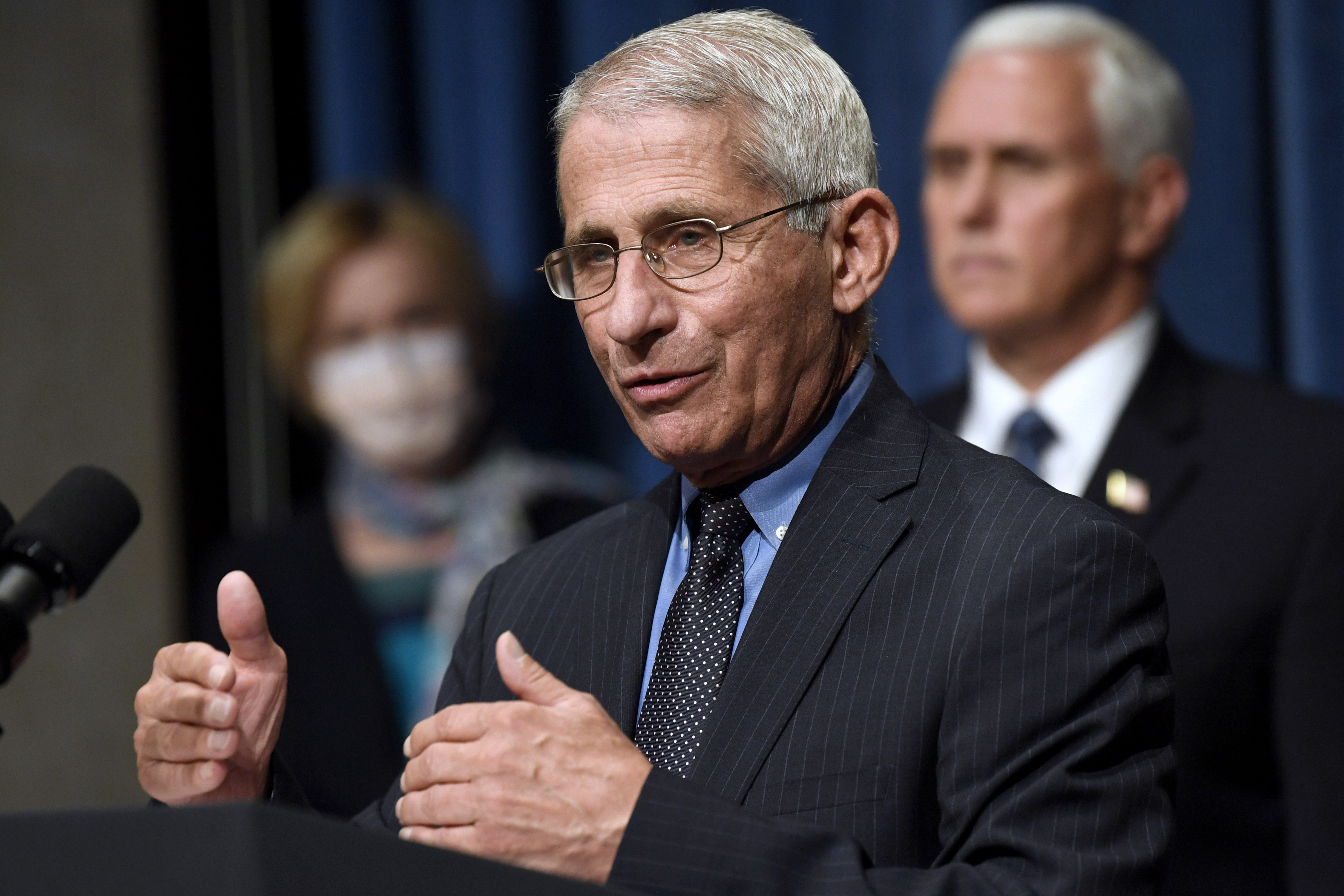 Director of the National Institute of Allergy and Infectious Diseases Dr. Anthony Fauci, center, speaks as Vice President Mike Pence, right, and Dr. Deborah Birx, White House coronavirus response coordinator, left, listen during a news conference with members of the Coronavirus task force at the Department of Health and Human Services in Washington on June 26, 2020.