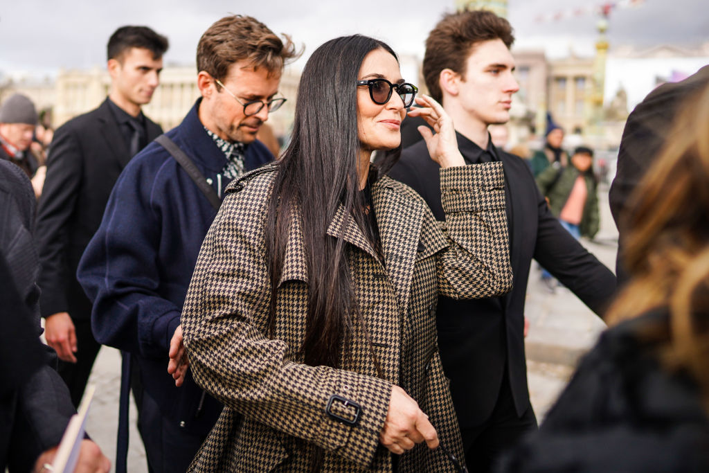 Demi Moore attends Womenswear Fall/Winter Fashion week 2020/2021, on February 25, 2020 in Paris, France.