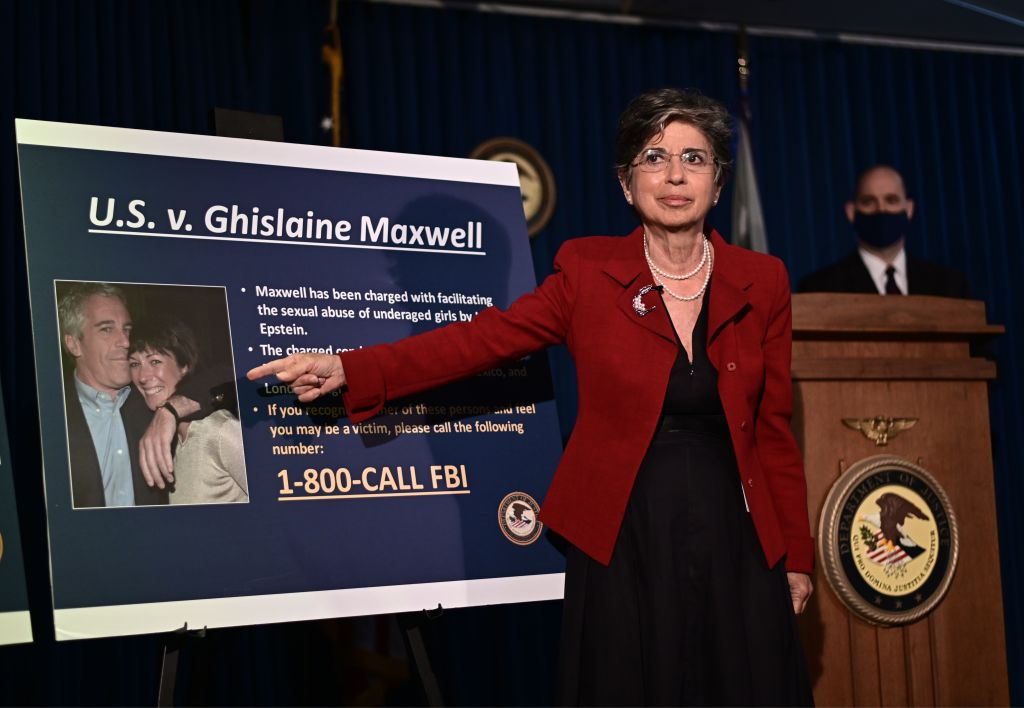 Acting US Attorney for the Southern District of New York, Audrey Strauss, announces charges against Ghislaine Maxwell during a July 2, 2020, press conference in New York City.