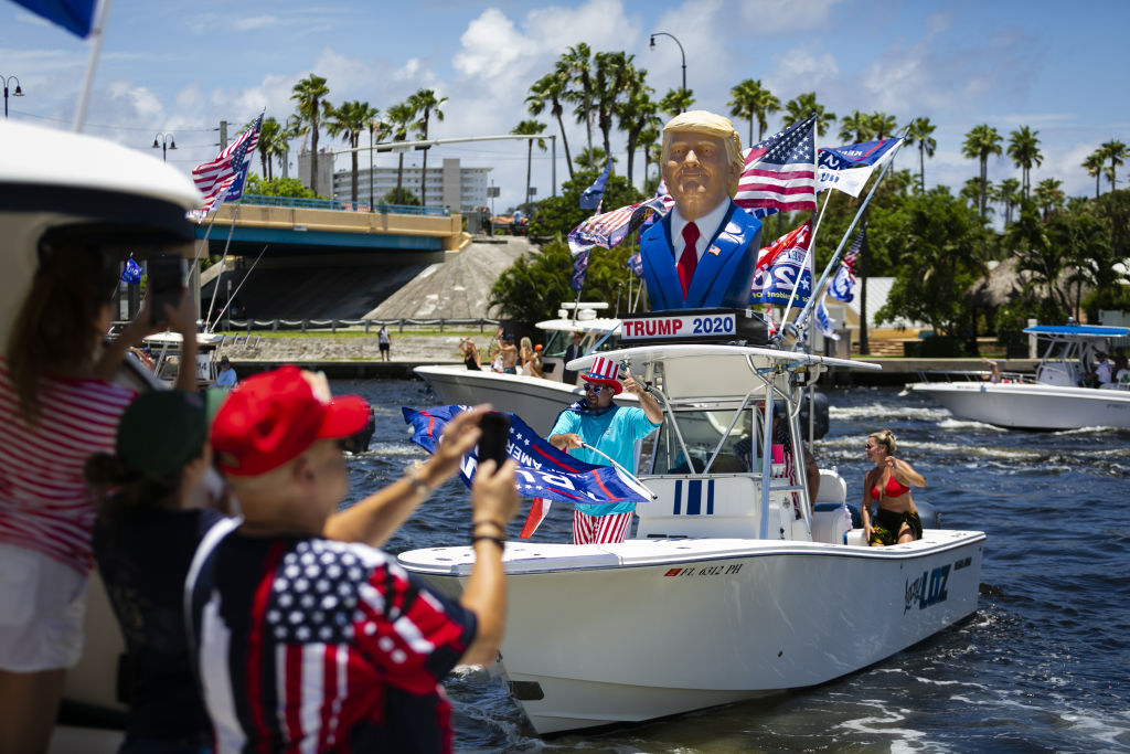 Supporters of U.S. President Donald Trump are seen during a boat rally to celebrate his birthday in Deerfield Beach, Florida, on June 14, 2020.