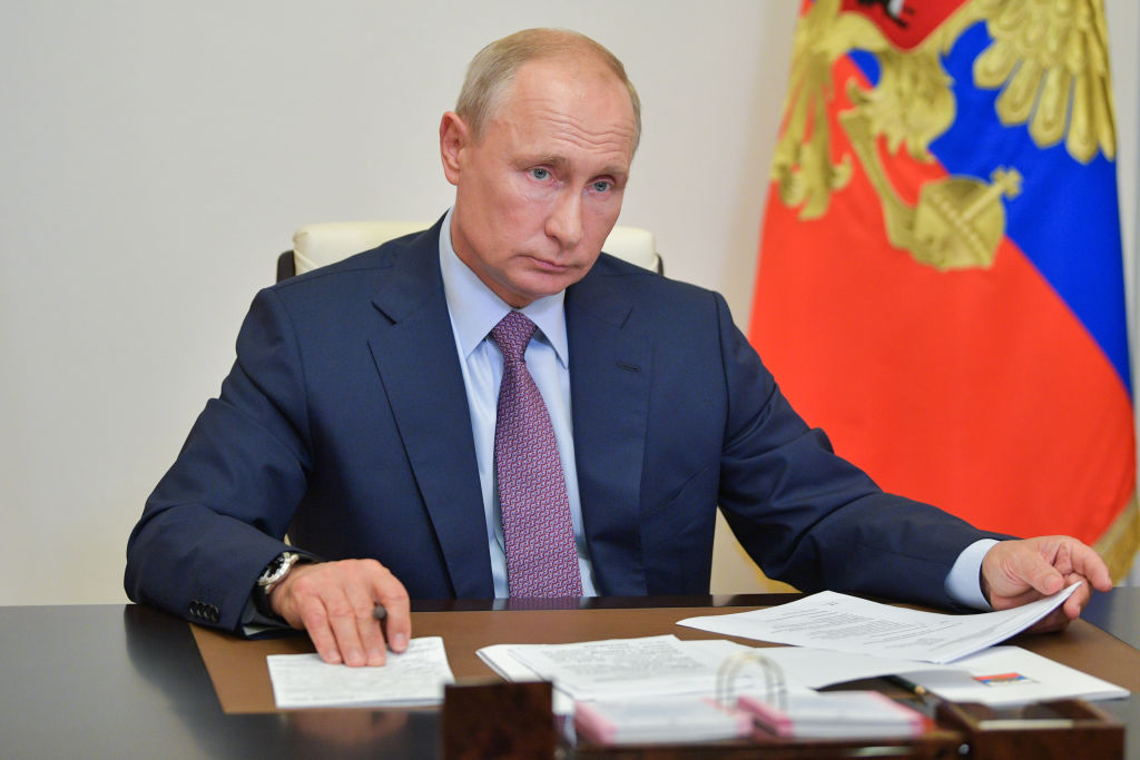Russia's President Vladimir Putin holds a video conference meeting of the Pobeda [Victory] Russian Organizing Committee at Novo-Ogaryovo residence on July 2, 2020
