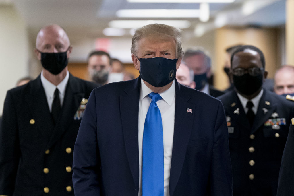 President Donald Trump wears a protective mask while visiting Walter Reed National Military Medical Center in Bethesda, Maryland, on July 11, 2020.