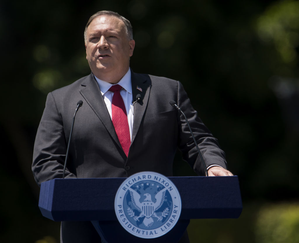 Michael Pompeo, U.S. secretary of state, speaks at the Richard Nixon Presidential Library & Museum in Yorba Linda, California, U.S., on Thursday, July 23, 2020.