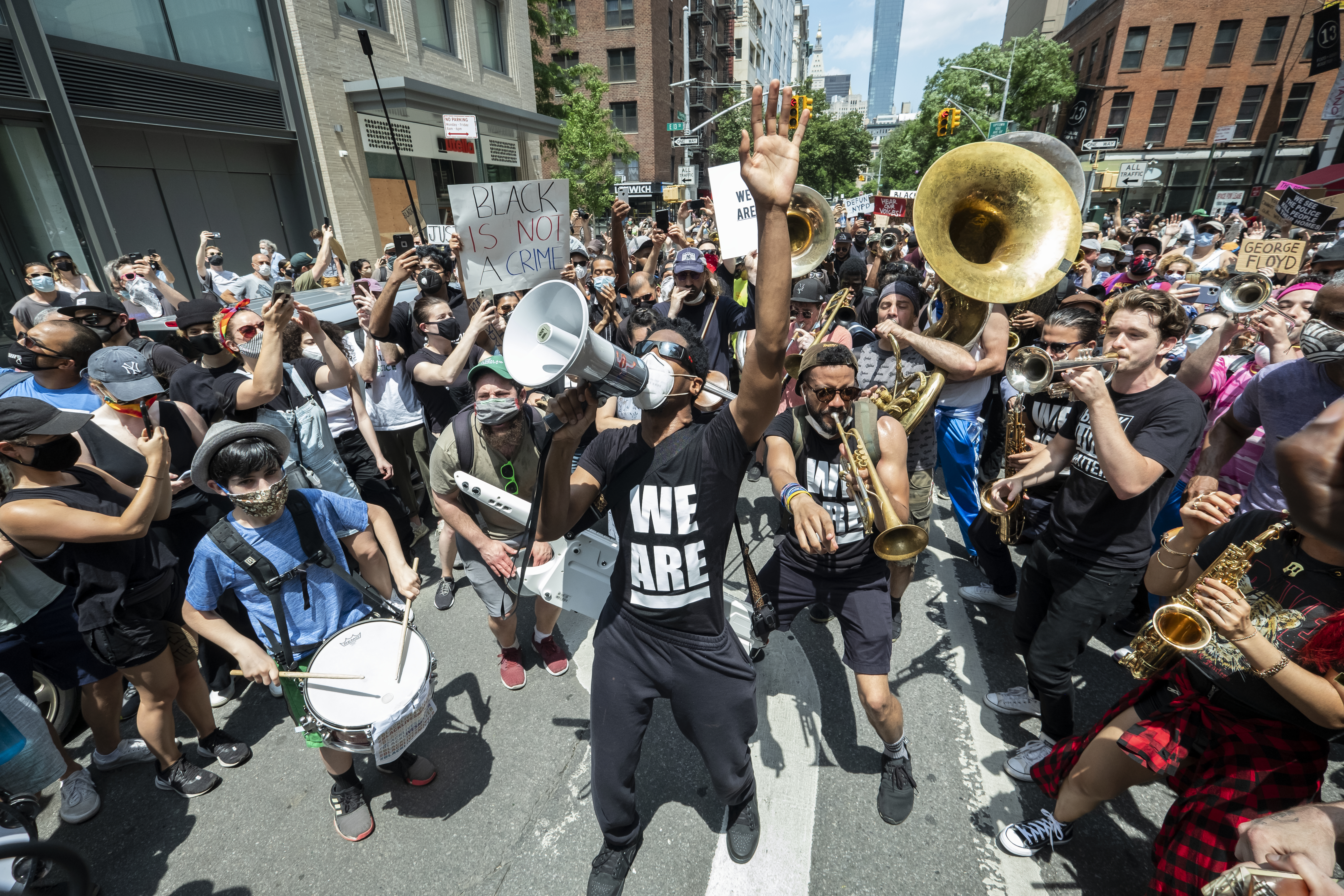 Jon Batiste leads a protest March in Manhattan in June 2020, where he and his band performed  Lift Every Voice and Sing.