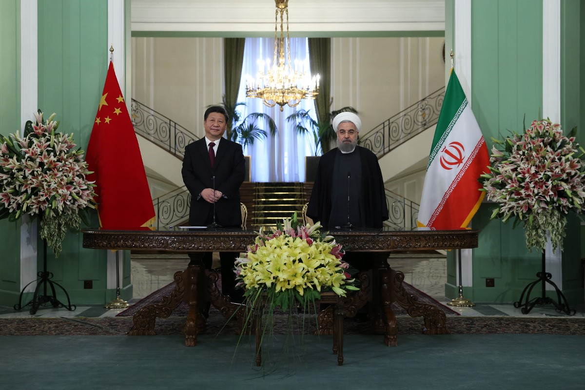 President of China Xi Jinping and President of Iran Hassan Rouhani make statements after signing of partnership agreement between Iran and China at Sadabad Complex in Tehran, Iran on January 23, 2016.
