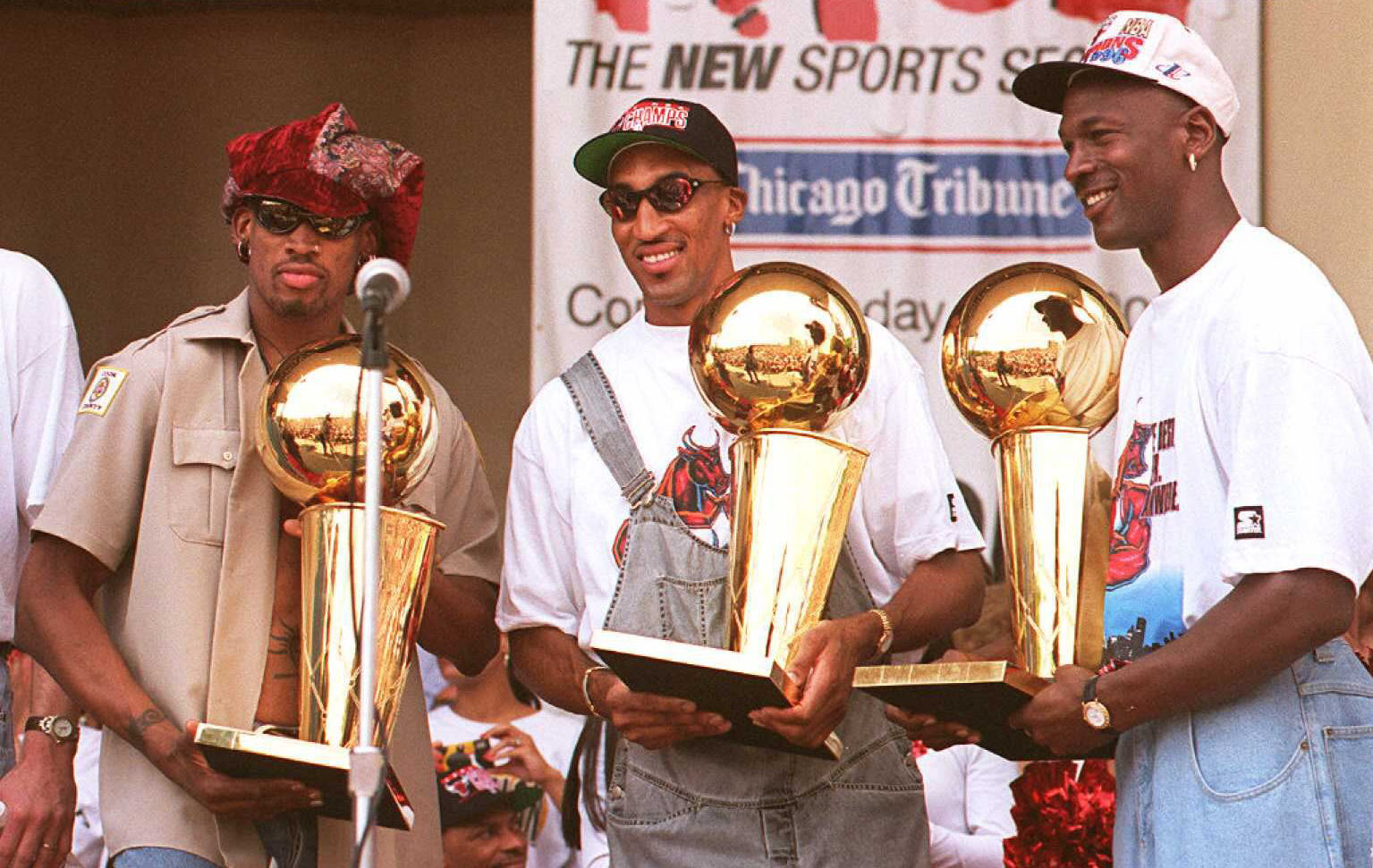 Dennis Rodman, Scottie Pippen and Michael Jordan in 1996.