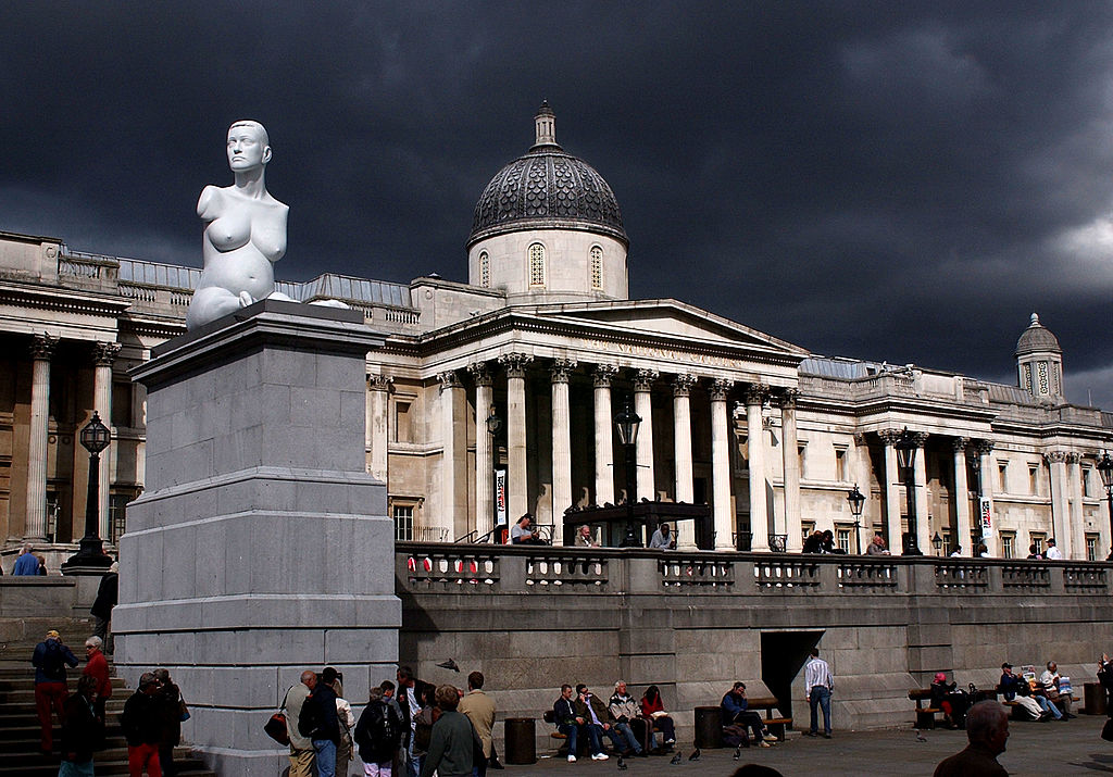 A marble sculpture by British artist Marc Quinn entitled  Alison Lapper Pregnant  is seen on Trafalgar Square's Fourth Plinth on September 16, 2005 in London, England. The statue is a portrait of disabled artist Alison Lapper, who is portrayed naked and eight months pregnant. The statue was be displayed until April 2007.