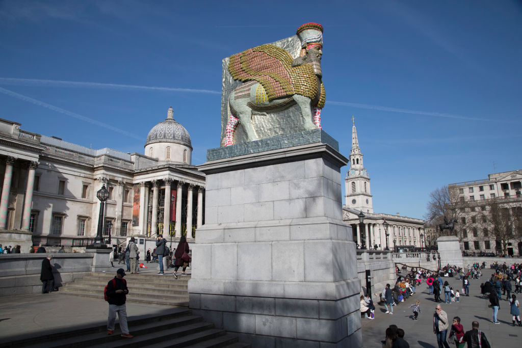 The Fourth Plinth sculpture  The Invisible Enemy Should Not Exist  by artist Michael Rakowitz in London on April 5, 2018. The artwork attempts to recreate more than 7,000 objects which have been lost forever. Some were looted from the Iraq Museum in 2003, while others were destroyed at archaeological sites across the country during the Iraq War. Rakowitz recreated the Lamassu, a winged bull and protective deity guarded the entrance to Nergal Gate of Nineveh from 700 BC until it was destroyed in 2015.