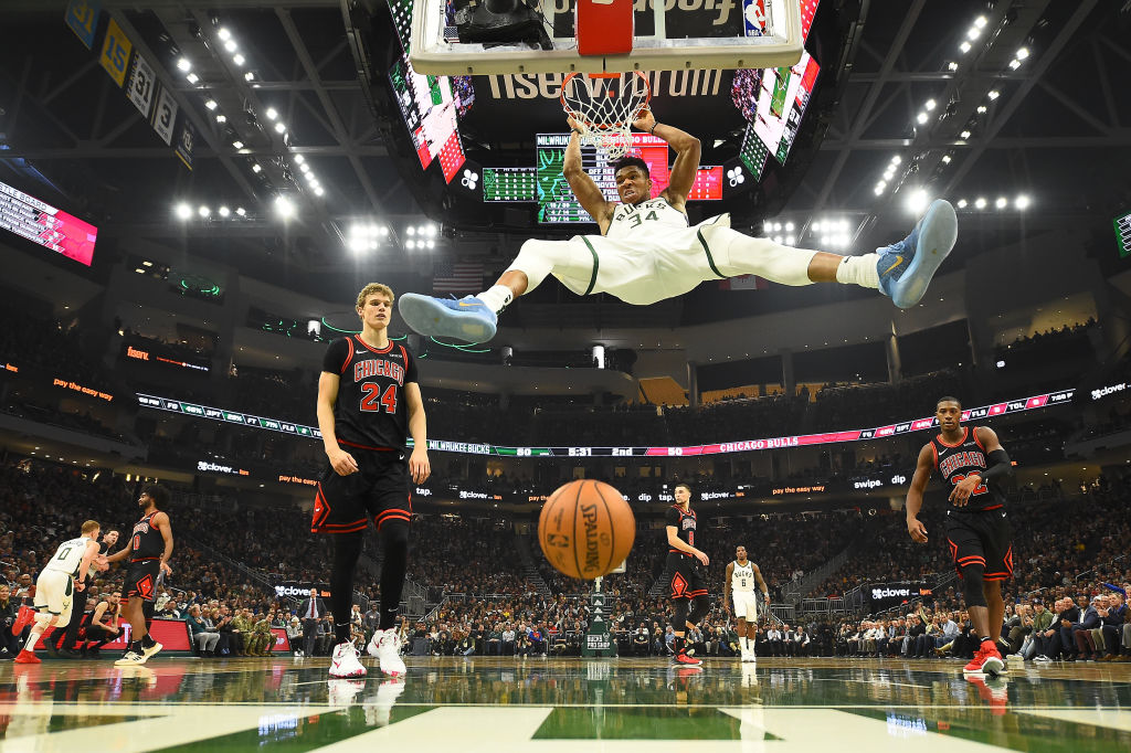 Giannis Antetokounmpo #34 of the Milwaukee Bucks dunks against the Chicago Bulls during the second half at Fiserv Forum on November 14, 2019 in Milwaukee, Wisconsin.
