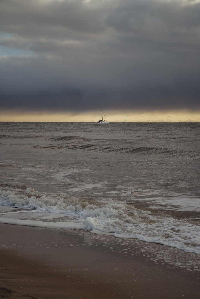 Thunberg departs the U.S. on the catamaran La Vagabonde as she sets sail towards Portugal in Hampton, Virginia, on November 13, 2019.