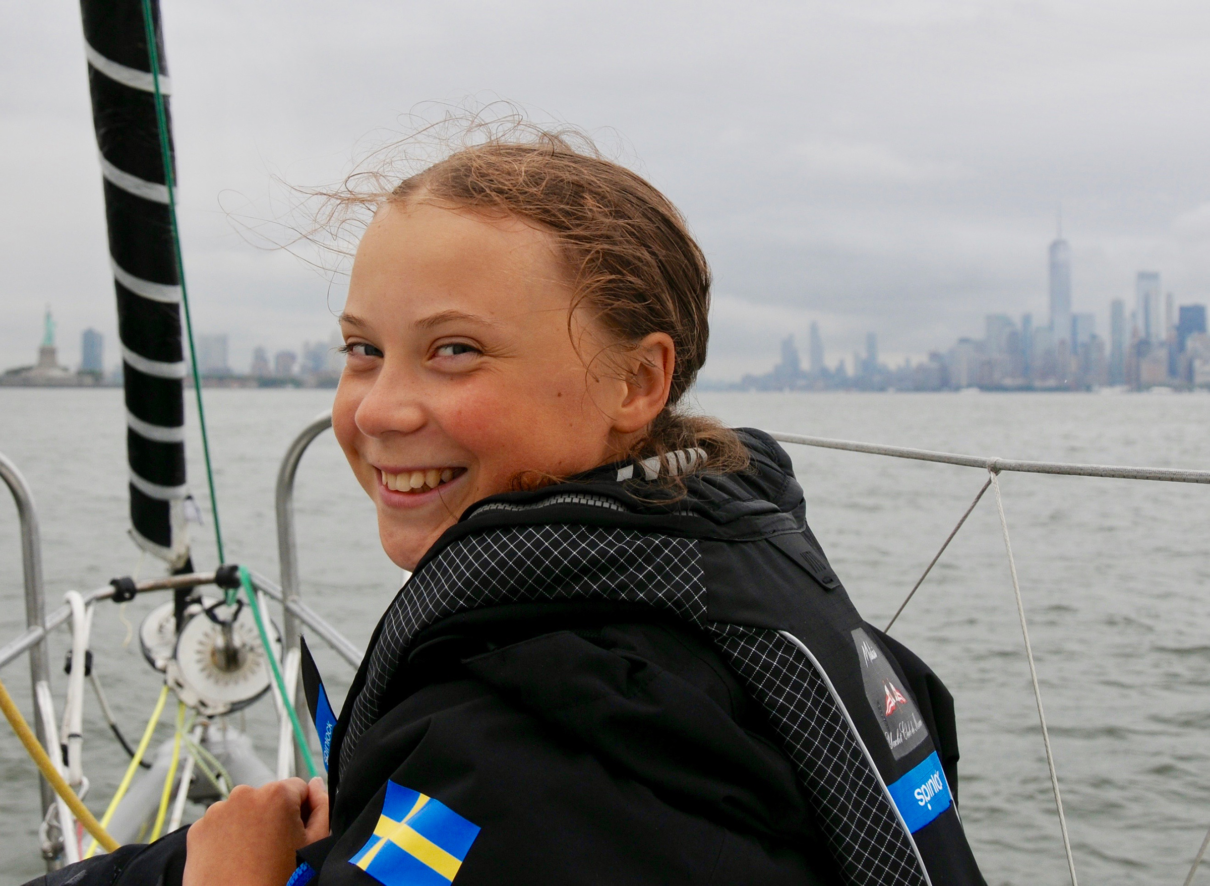 Thunberg arrives in New York City after a 15-day journey crossing the Atlantic on Aug. 28, 2019.