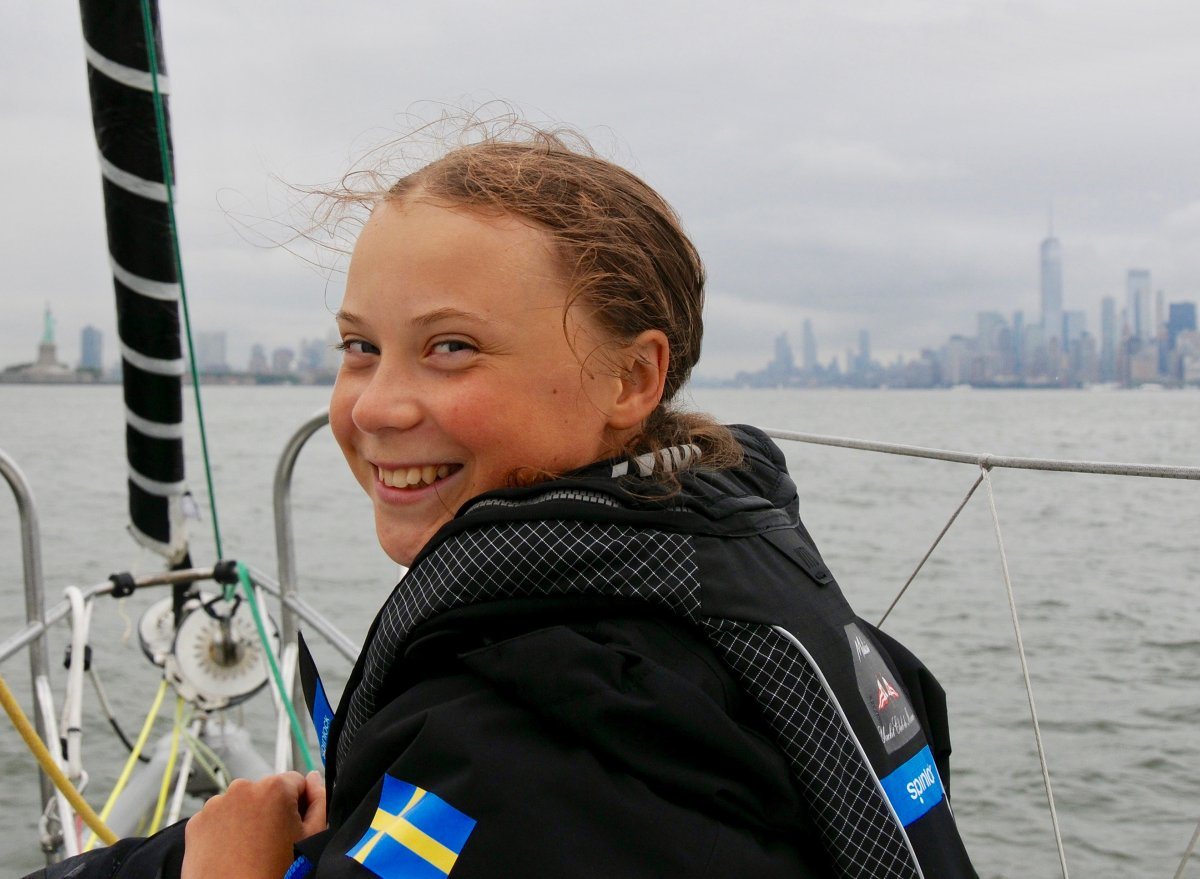 Thunberg arrives in New York City after a 15-day journey crossing the Atlantic on Aug. 28, 2019. Courtesy of Greta Thunberg