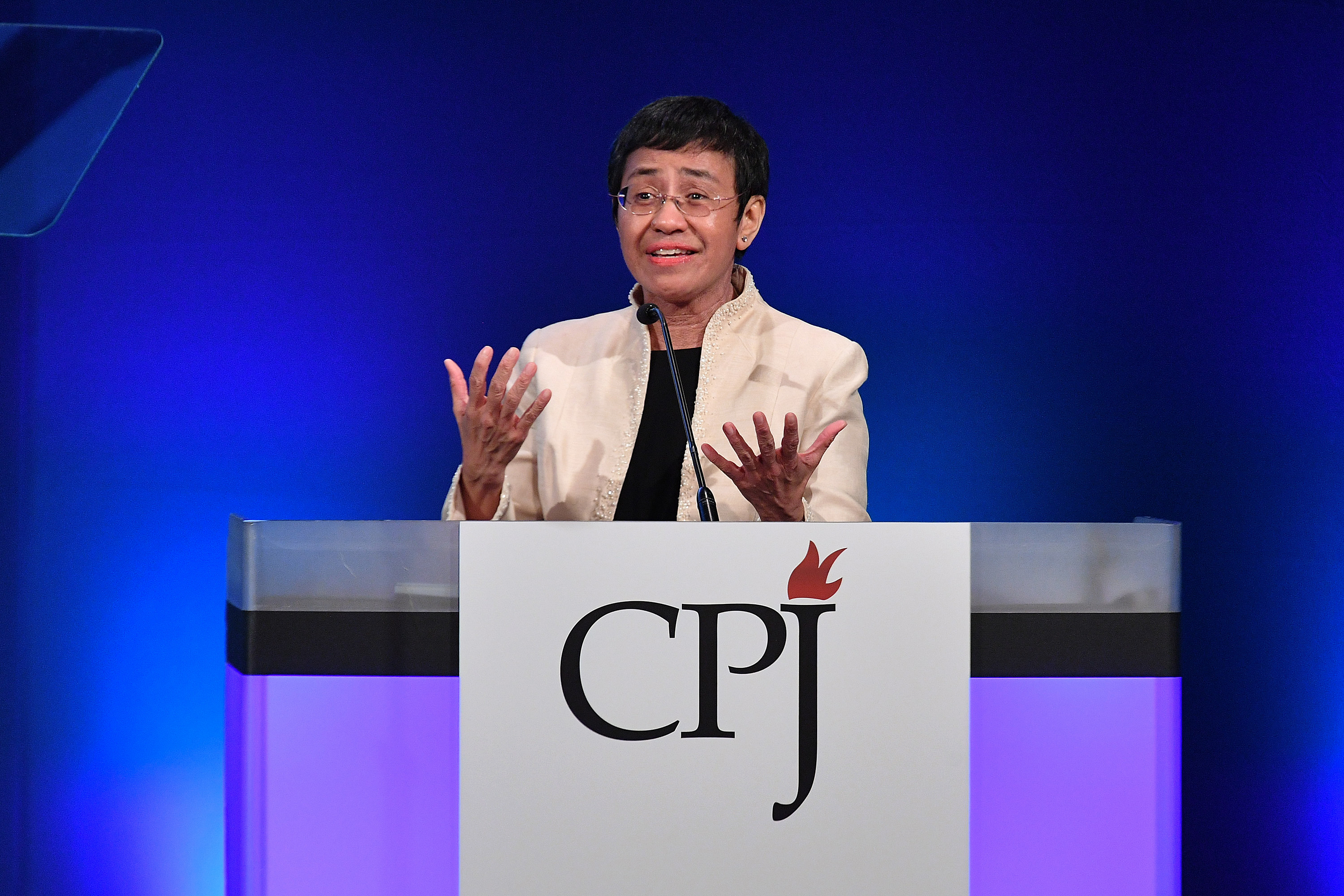 Maria Ressa speaks onstage at the Committee To Protect Journalists' International Press Freedom Awards at the Grand Hyatt on November 20, 2018 in New York City.