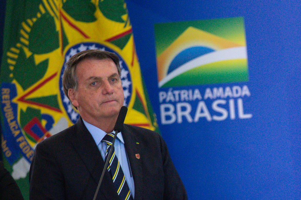 Brazil's President Jair Bolsonaro speaks during the sworn in ceremony for newly appointed Minister of Communications Fábio Faria amidstthe coronavirus pandemic at the Planalto Palace on June 17 2020 in Brasilia.