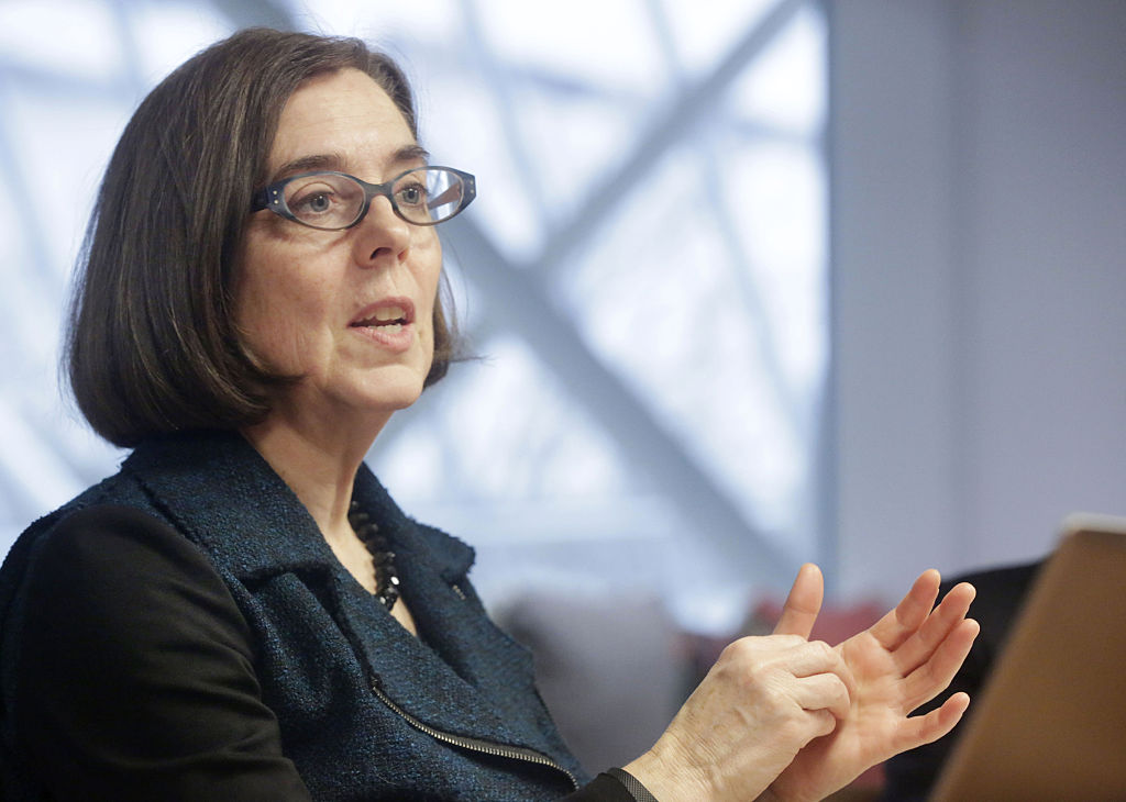 Kate Brown, governor of Oregon, speaks during an interview in Portland, Oregon, U.S. on Jan. 20, 2016.
