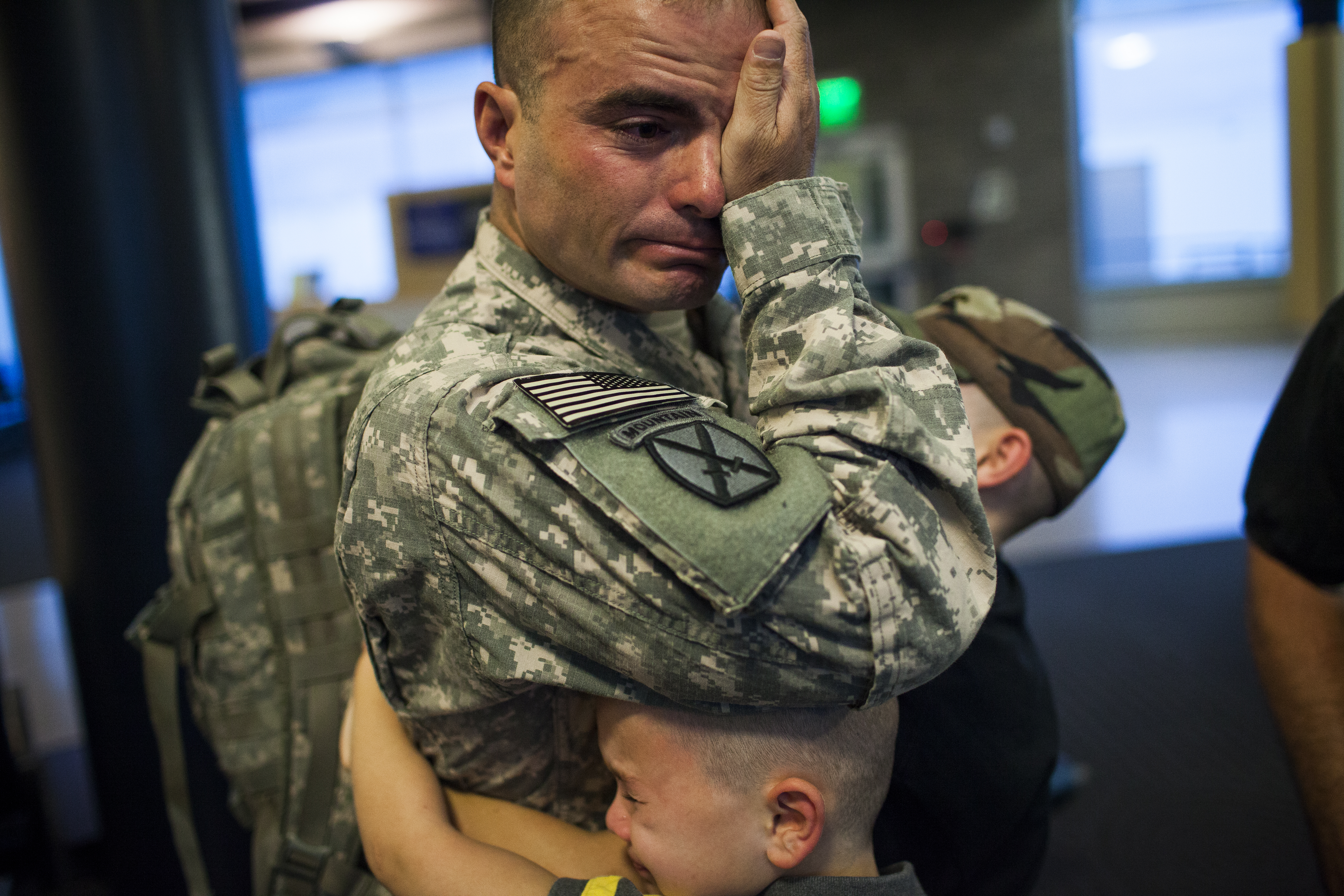 Joey and his father, Sgt. First Class Brian Eisch, on his return from Afghanistan in 'Father Soldier Son'