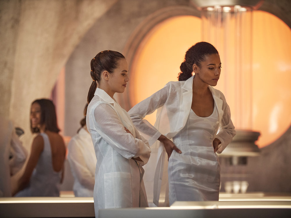 Jessica Brown Findlay, left, and Kylie Bunbury in 'Brave New World'