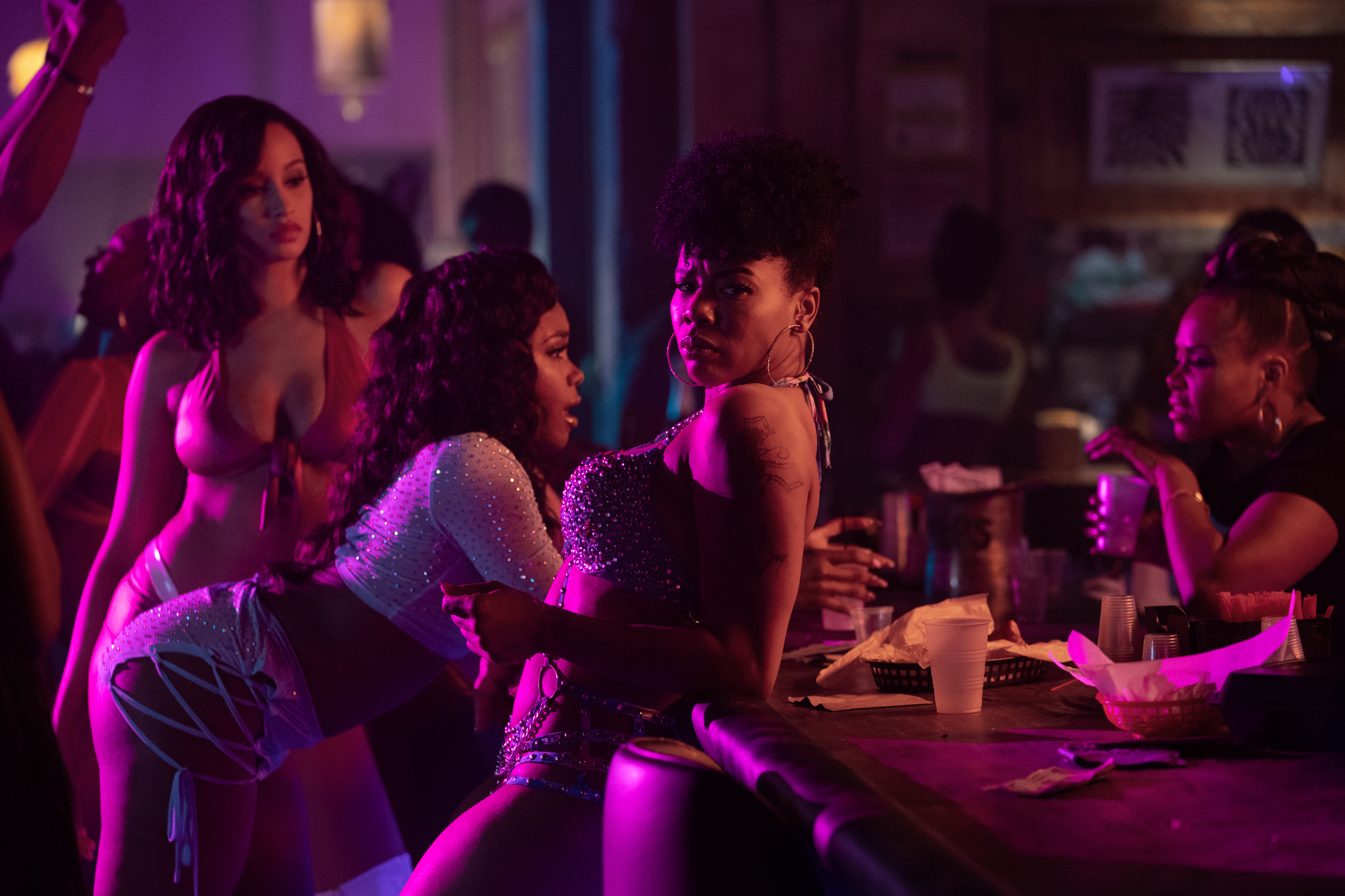 Elarica Johnson, Shannon Thornton and Brandee Evans (L-R) in 'P-Valley'