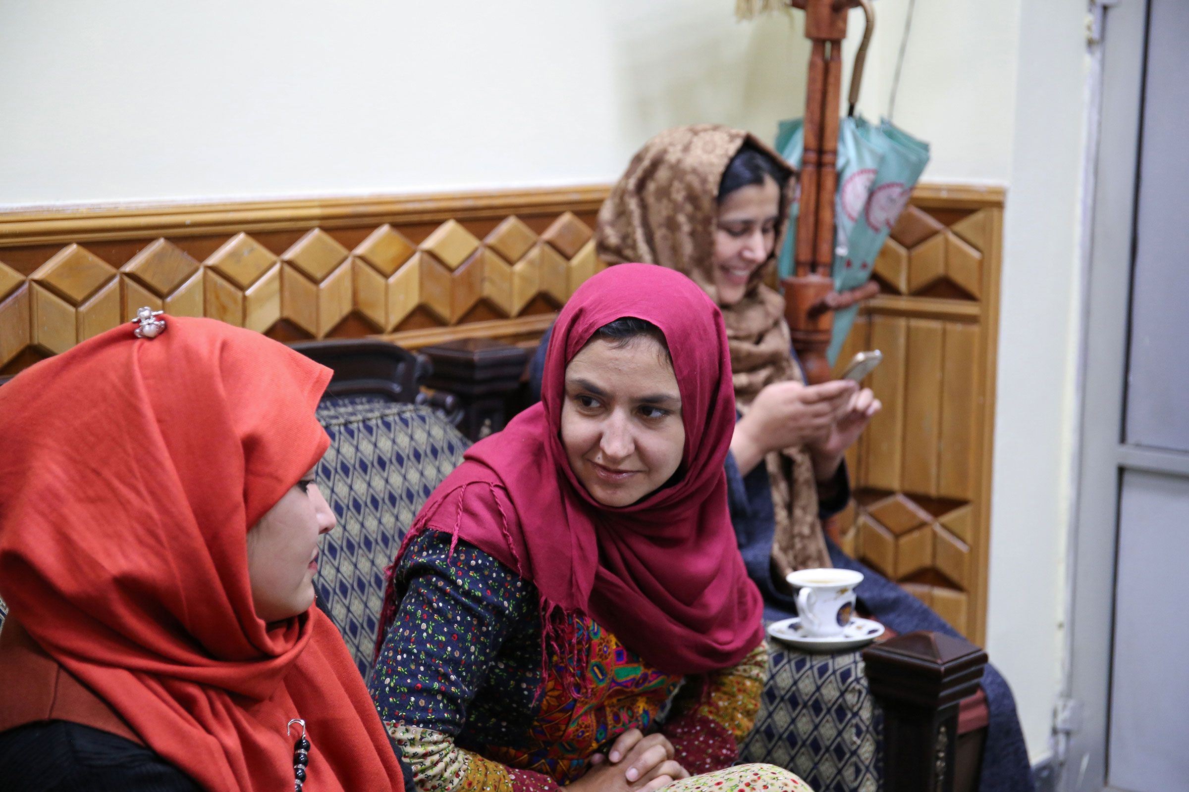 Members of Mirman Baheer, a nationwide women's literary society meet in an office in Kabul, the capital. Mirman Baheer meets in a different secret location each week.
