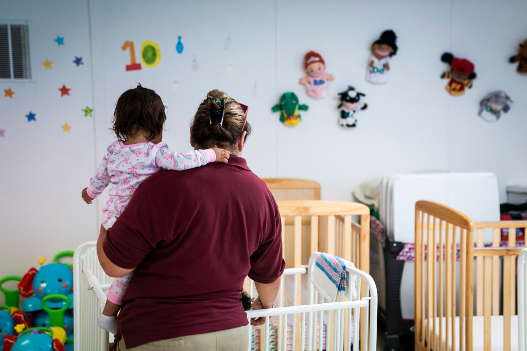 Immigrant infants are looked after in a daycare as U.S. Immigration and Customs Enforcement (ICE) and Enforcement and Removal Operations (ERO) hosts a media tour at the South Texas Family Residential Center, which houses families who are pending disposition of their immigration cases on Friday, Aug 23, 2019 in Dilley, TX.