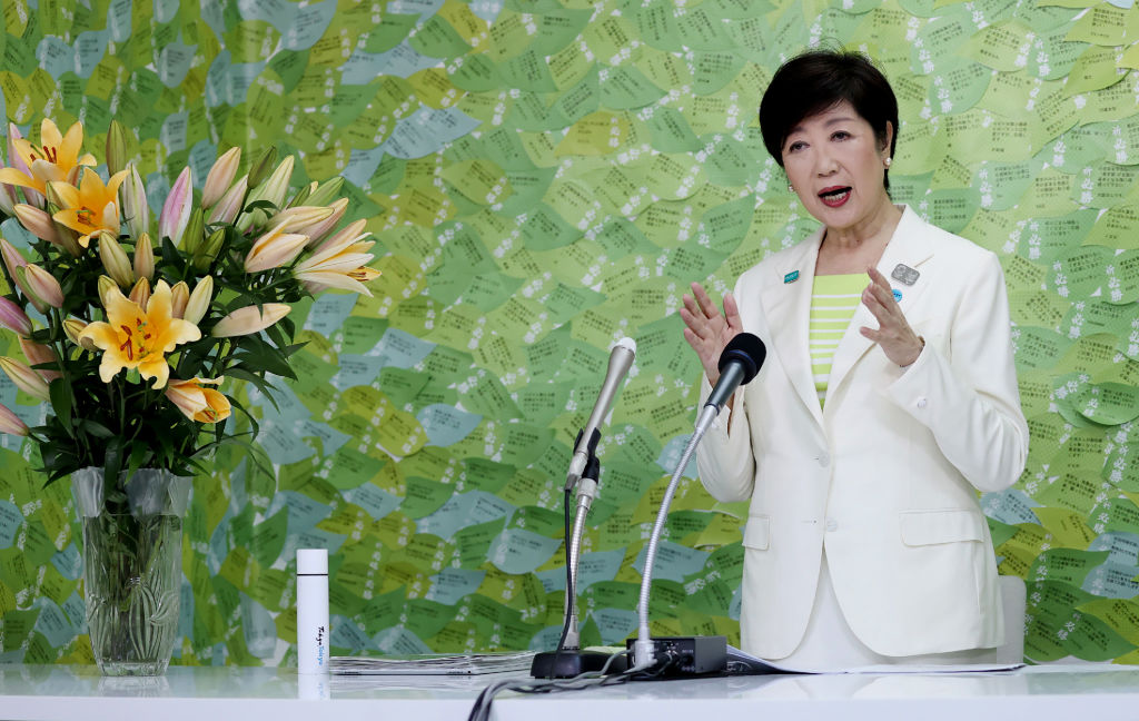 Tokyo Governor Yuriko Koike speaks during a media interview in Tokyo on July 5, 2020. She declared victory in the vote to elect the leader of one of the world's most populous cities and immediately vowed to step up the fight against a recent coronavirus resurgence.
