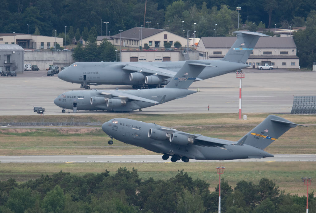 A US military aircraft takes off from the US Airbase Ramstein, Germany.