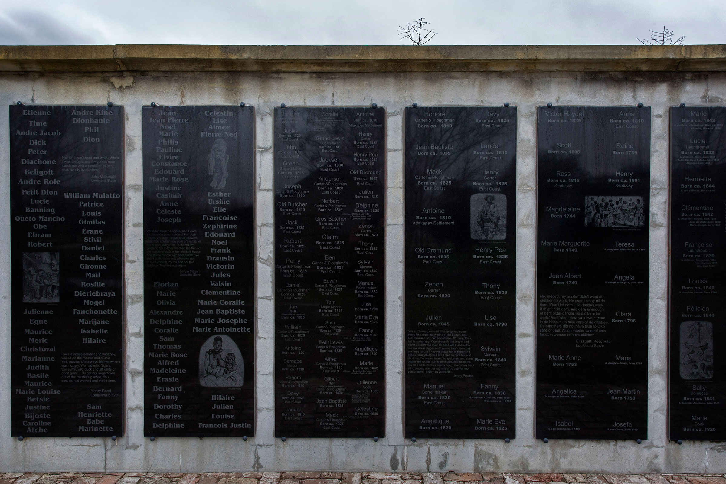A memorial wall with the names of people who were enslaved on the Whitney Plantation in Wallace, La., photographed on Jan. 13, 2015.