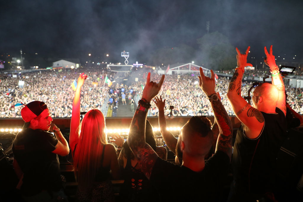 Fans in the DJ Booth for Above & Beyond during the 2019 Electric Zoo Festival at Randall's Island on August 31, 2019 in New York City.