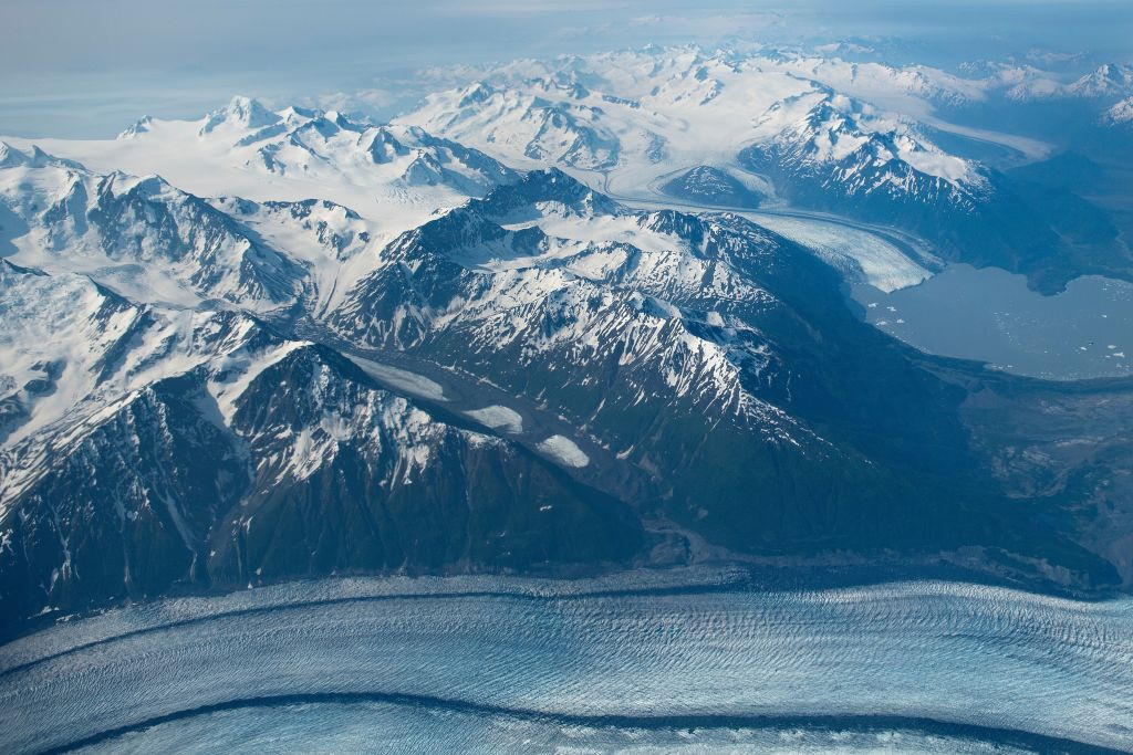 A glacier is seen from Air Force One near Anchorage, Alaska on June 30, 2019.