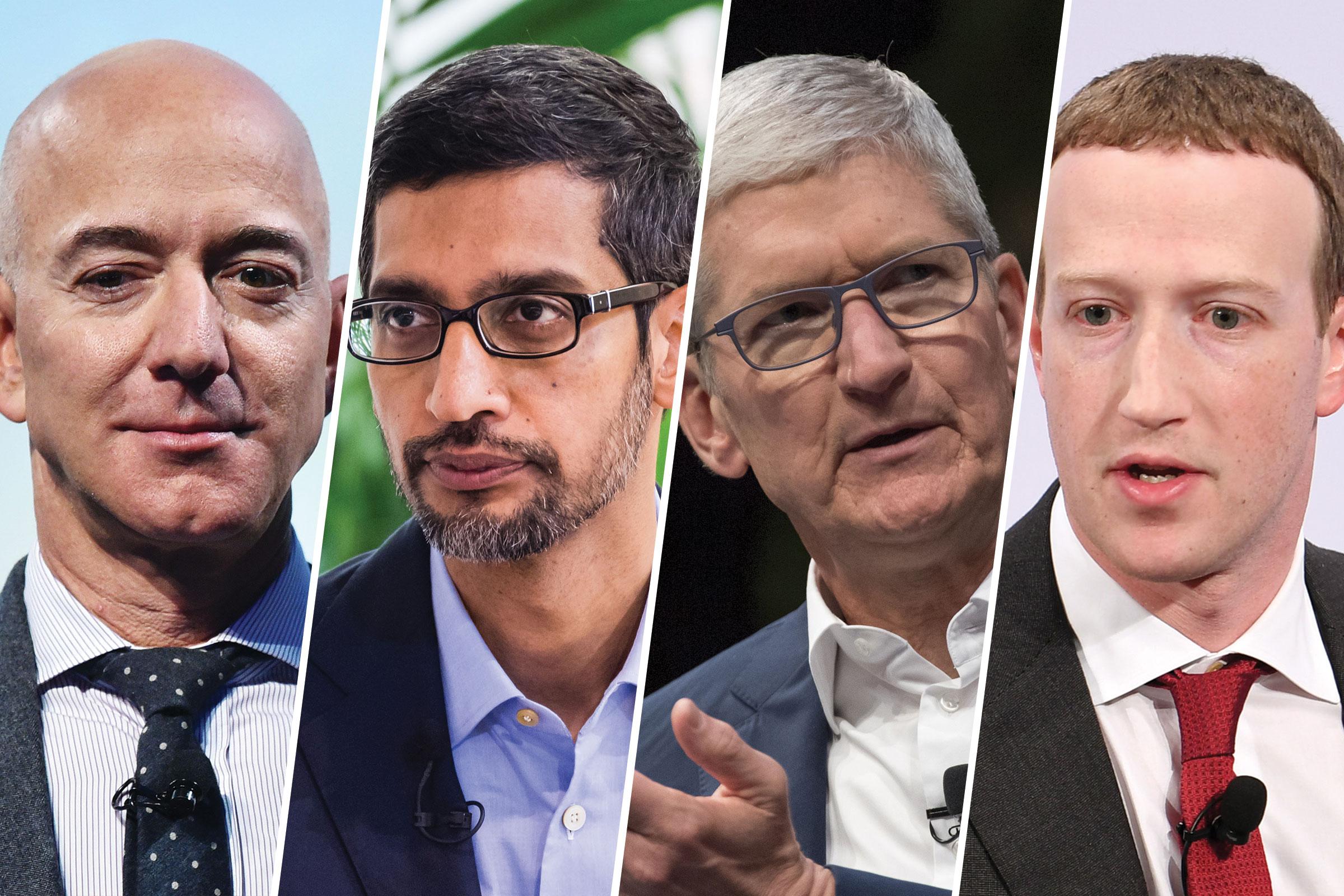 Amazon CEO Jeff Bezos, Google CEO Sundar Pichai, Apple CEO Tim Cook, Facebook CEO Mark Zuckerberg
