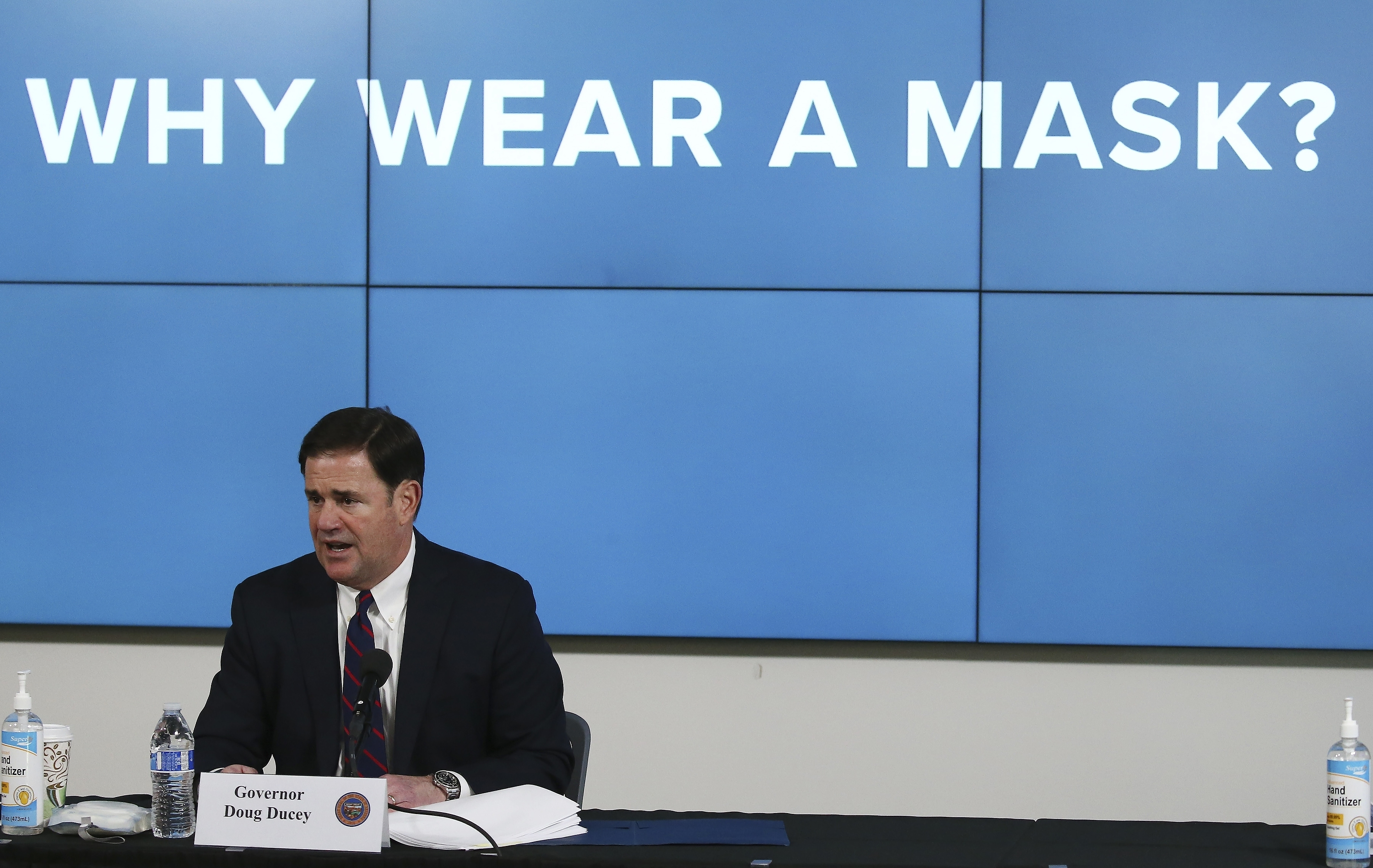 Arizona Republican Gov. Doug Ducey speaks about the latest coronavirus update in Arizona and benefits of wearing a mask during a news conference in Phoenix on July 9, 2020.