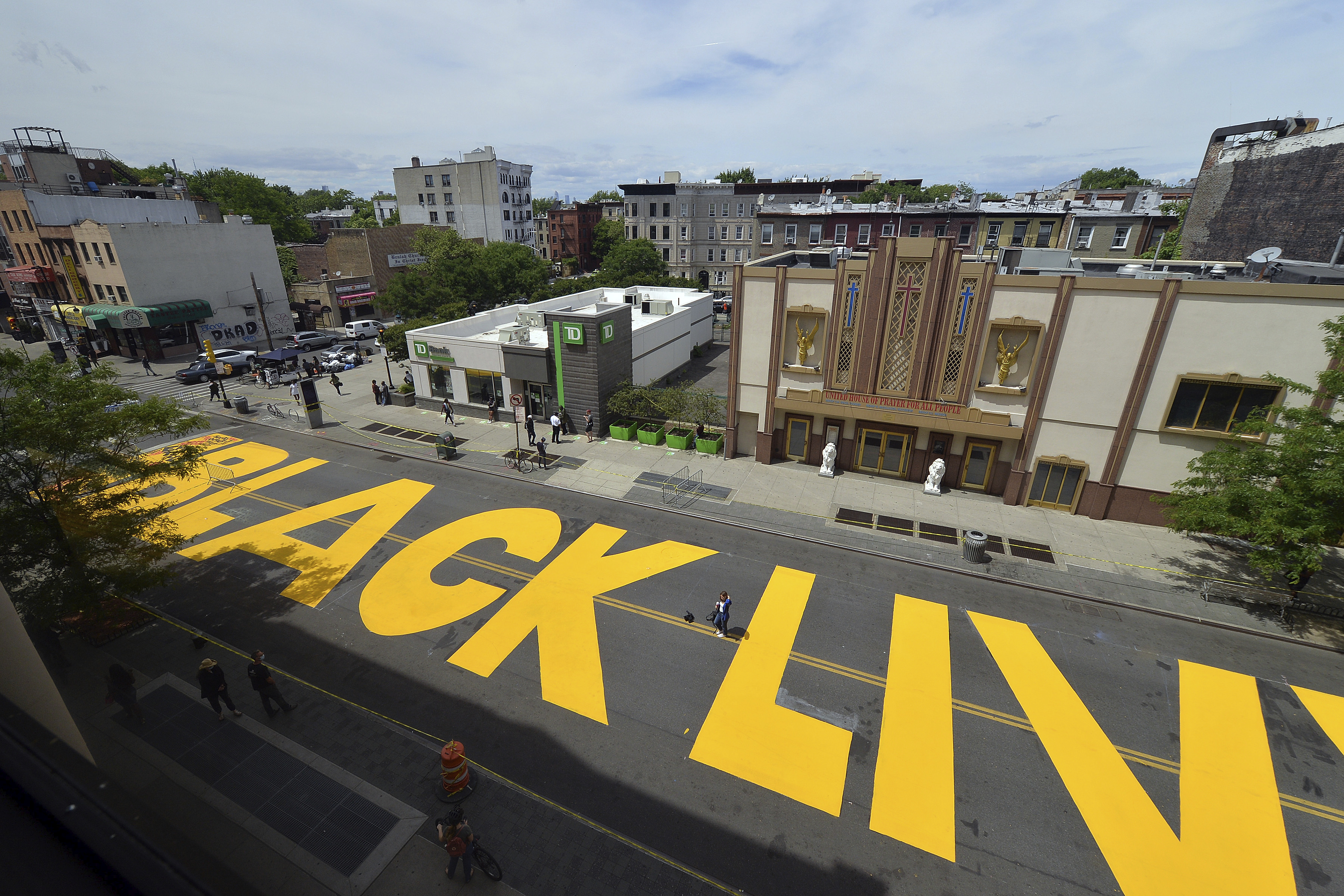 A view of  Black Lives Matter  painted in bright yellow in Brooklyn, New York, on June 15, 2020. The mural is similar to the one that was vandalized in Martinez, California on July 4, 2020.
