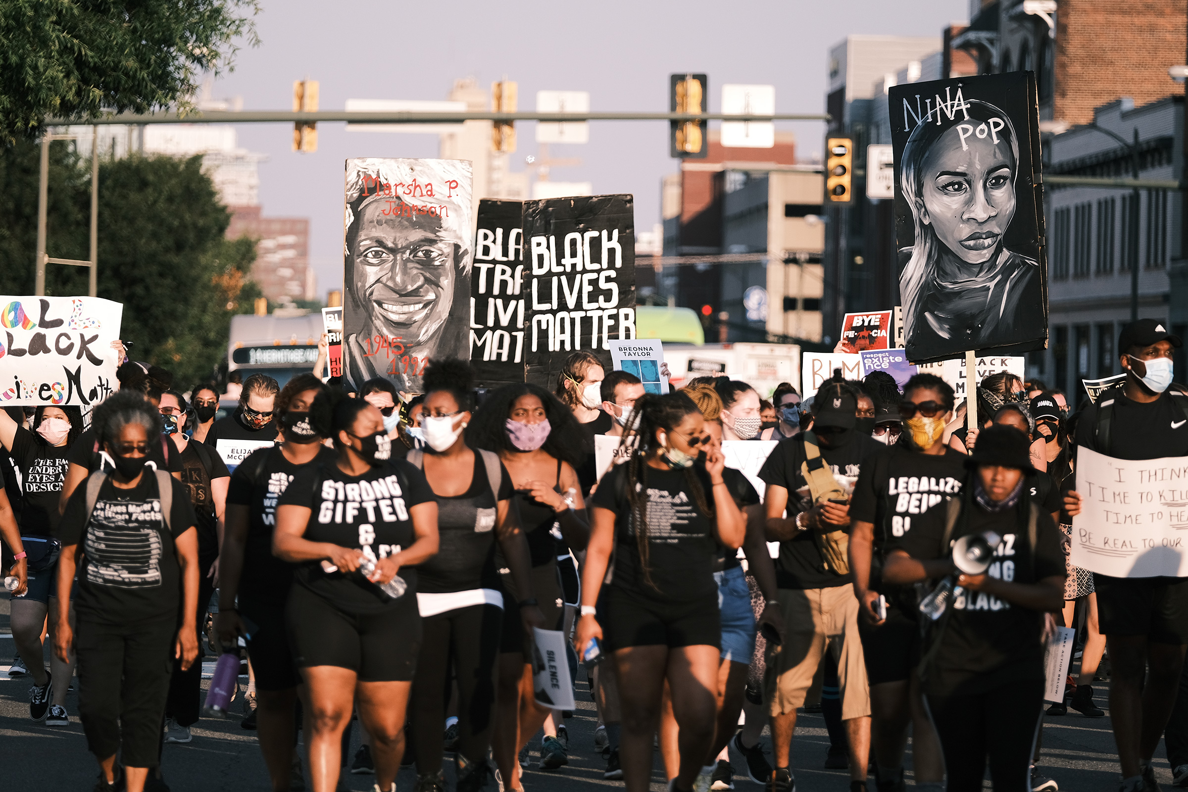 Protesters gather for the Black Women Matter  Say Her Name  march in Richmond, Va., on July 3, 2020.