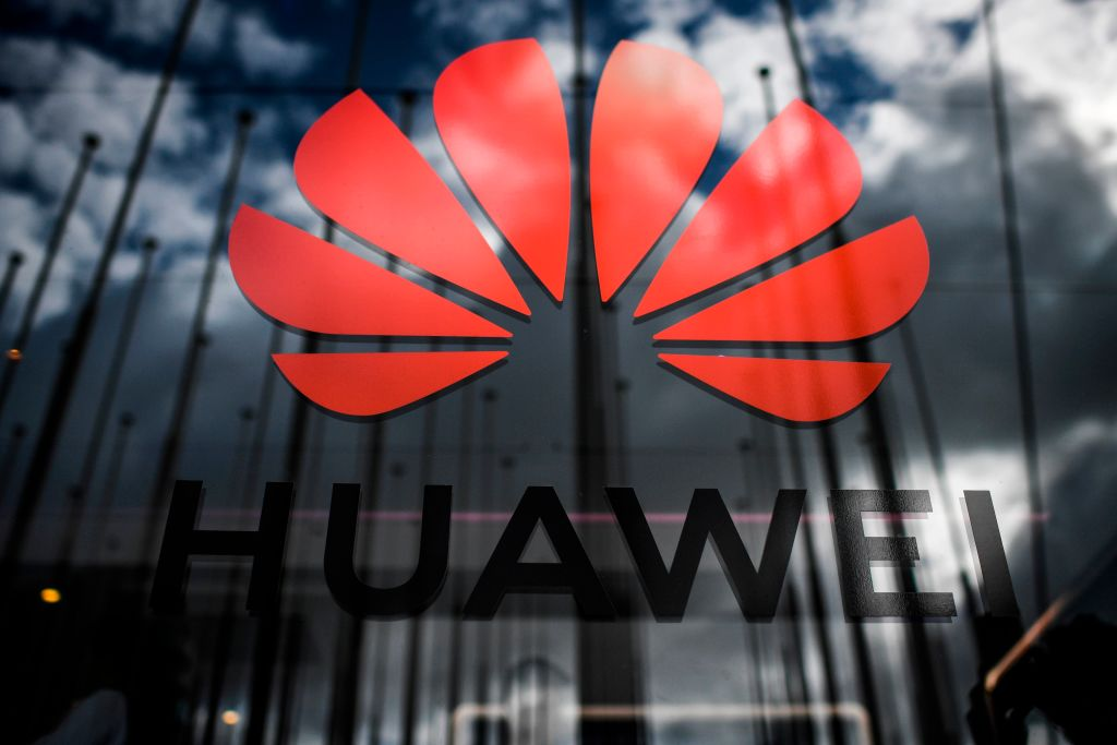 The logo of Chinese telecom giant Huawei is pictured on Nov. 6, 2019.