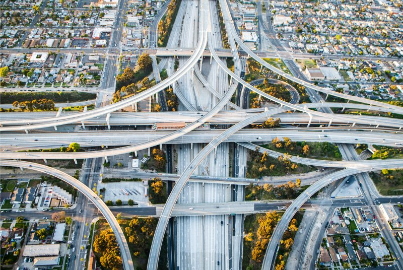One of Los Angeles' most crowded highway interchanges was nearly empty during rush hour on April 24.