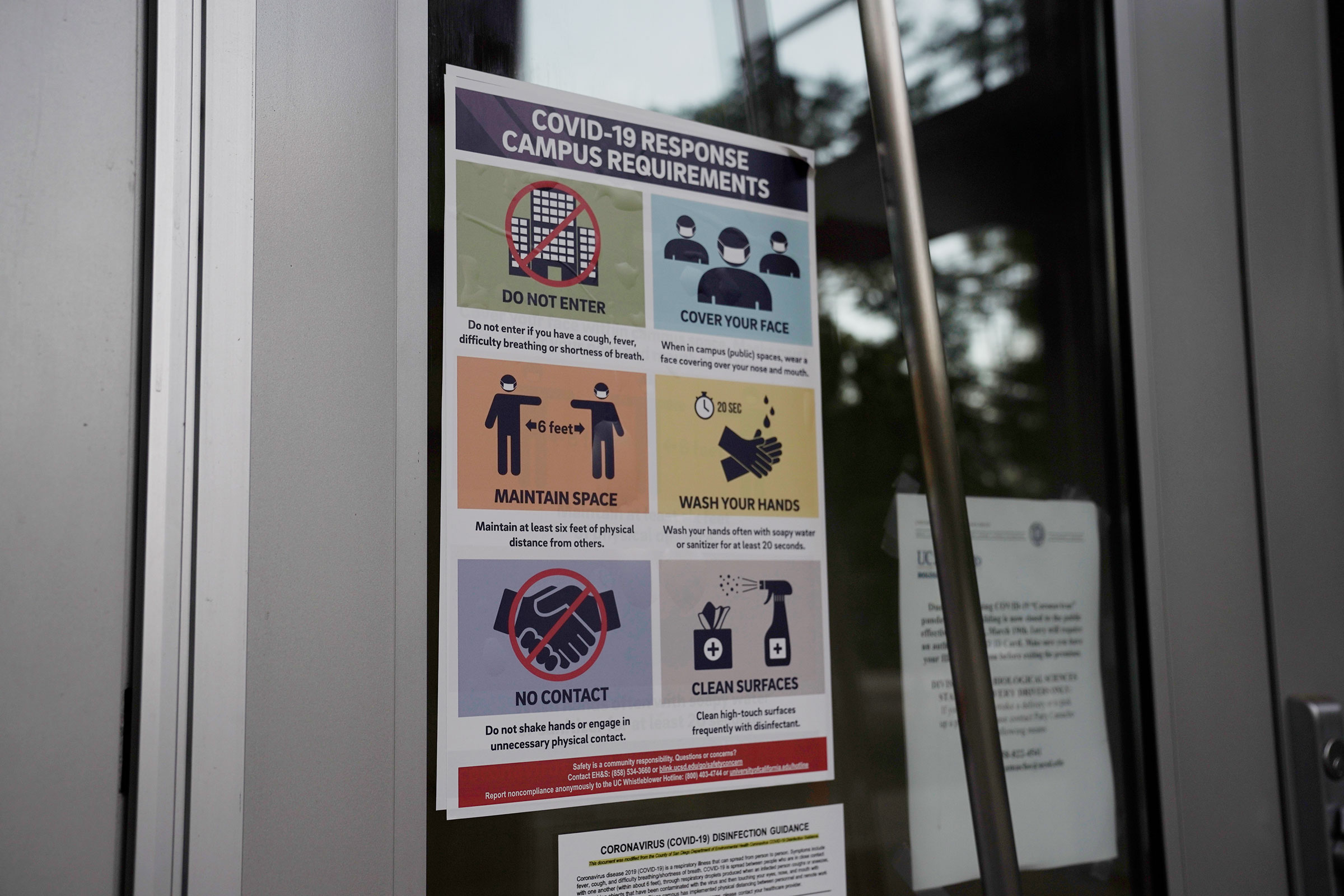 A  Covid-19 Response Campus Requirements  sign is displayed at the University of California San Diego on July 9, 2020.