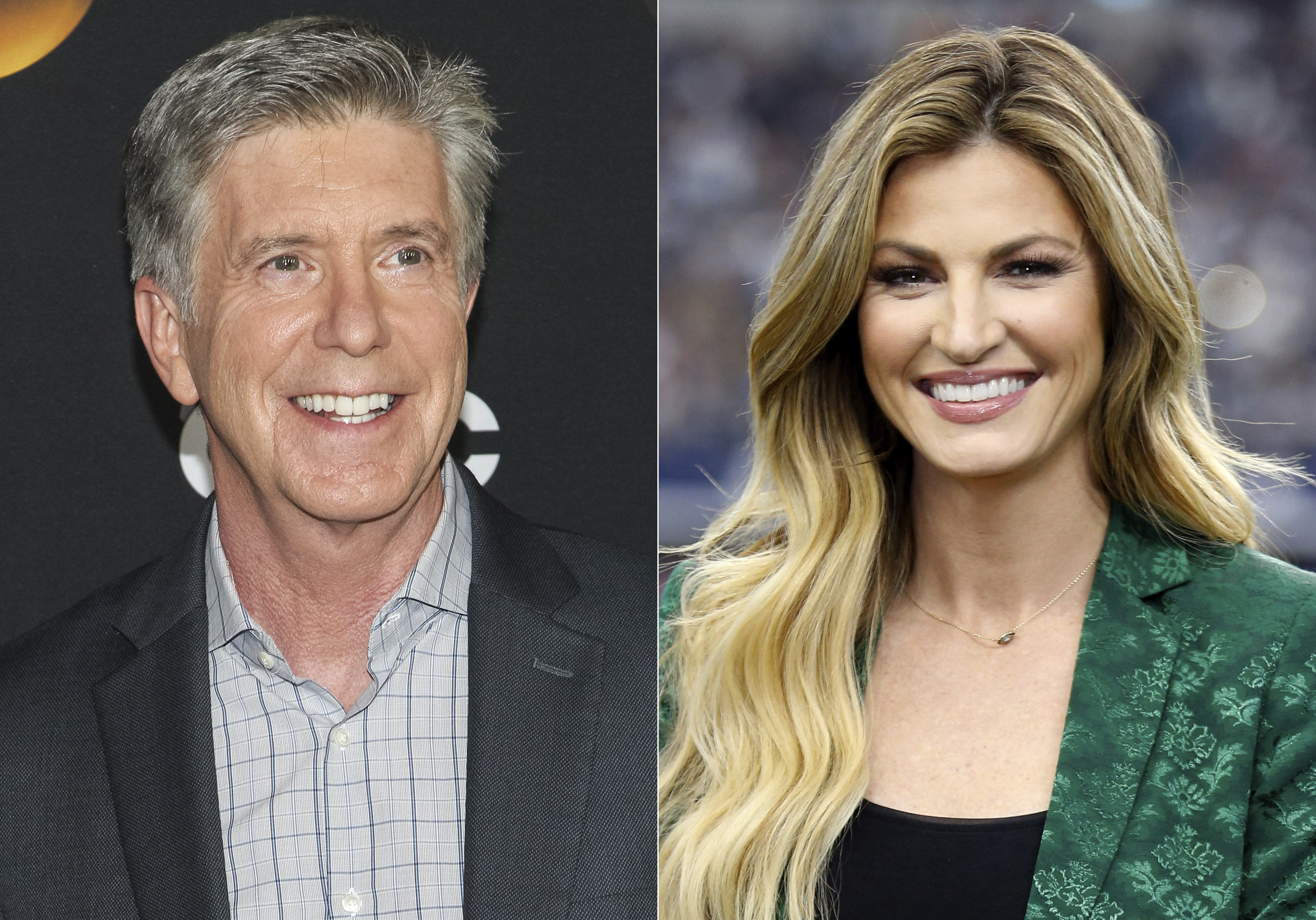 This combination photo shows  Dancing With the Stars  co-hosts, Tom Bergeron, left, and Erin Andrews who will not be returning to the popular celebrity dance competition series.