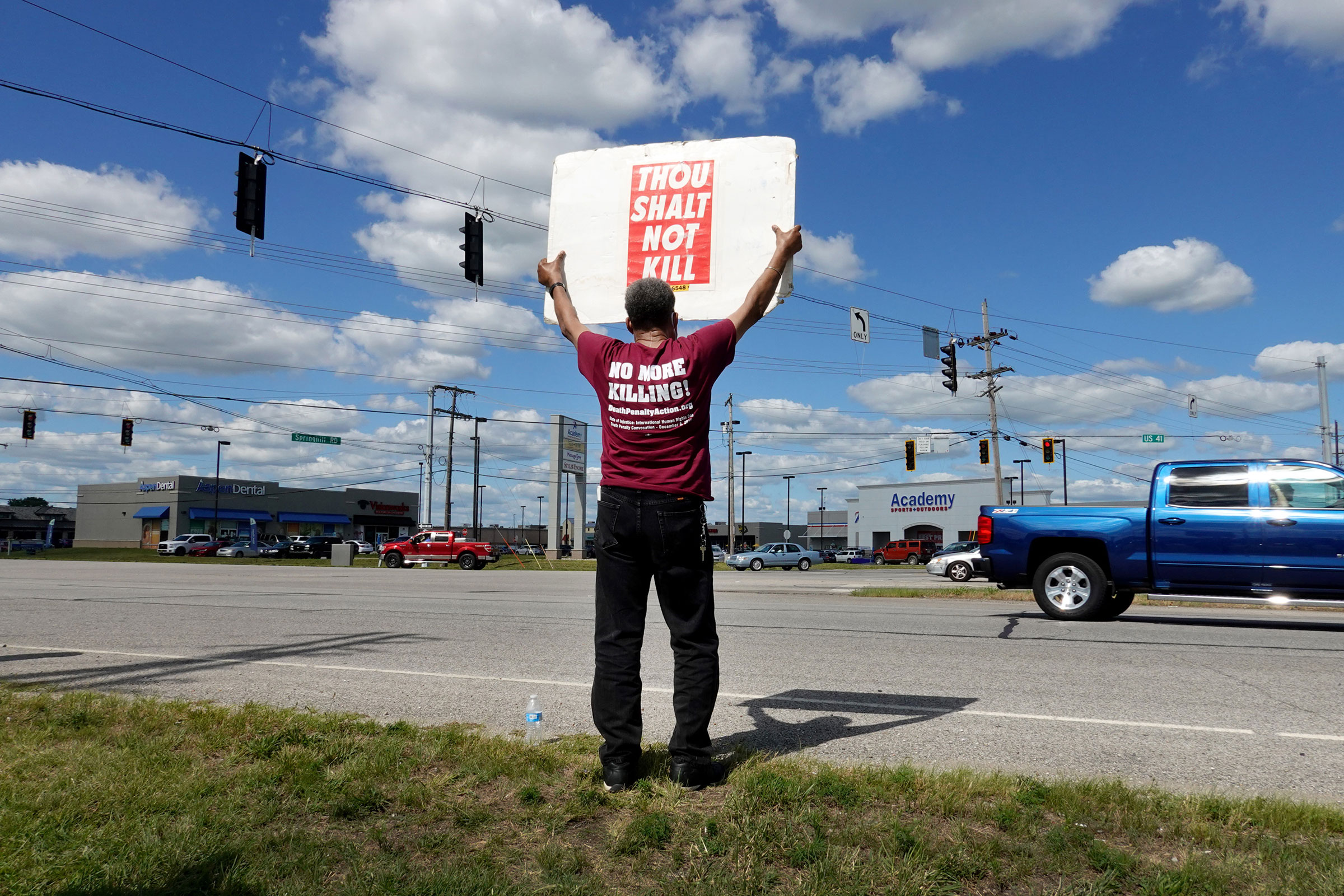 Sylvester Edwards expresses his opposition to the death penalty during a protest near the Federal Correctional Complex where Daniel Lewis Lee is scheduled to be executed on July 13, 2020 in Terre Haute, Indiana. Lee was convicted and sentenced to die for the 1996 killings in Arkansas of gun dealer William Mueller, his wife Nancy, and her 8-year-old daughter Sarah. He is scheduled to be the first federal prisoner put to death since 2003.
