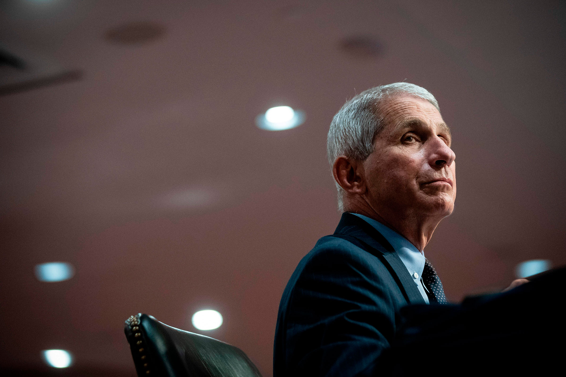 Anthony Fauci, director of the National Institute of Allergy and Infectious Diseases, listens during a Senate Health, Education, Labor and Pensions Committee hearing in Washington, DC, on June 30, 2020.