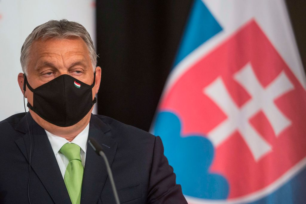 Hungary's Prime Minister Viktor Orban addresses a joint press conference following the Visegrad Group meeting in Lednice, Czech Republic, on June 11, 2020.