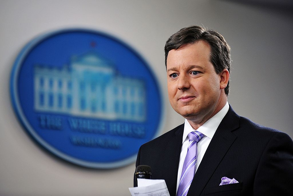 Fox News White House correspondent Ed Henry prepares to do a stand-up December 8, 2011 in the Brady Briefing Room of the White House in Washington, D.C.