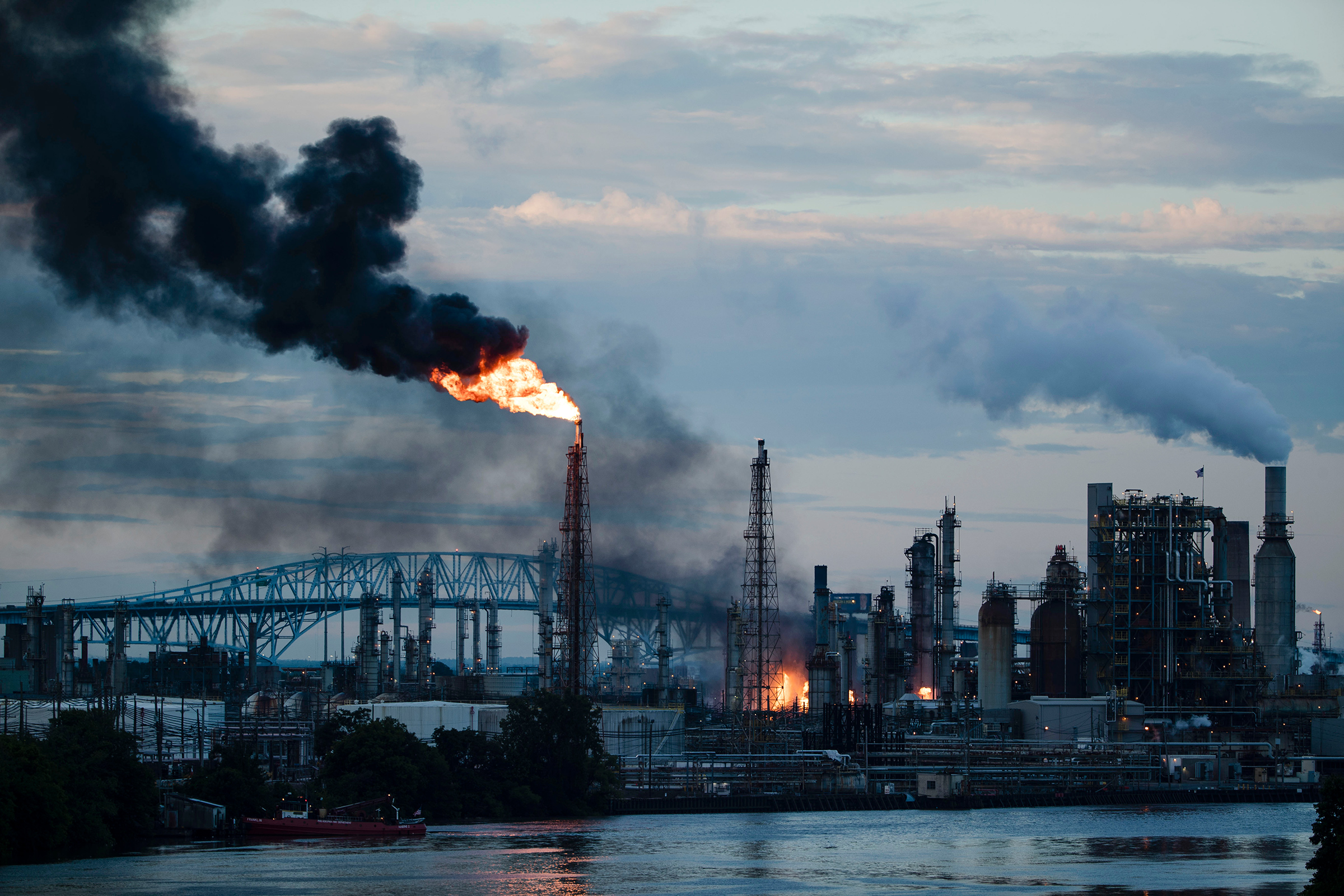The Philadelphia Energy Solutions Refining Complex after catching fire on June 21, 2019