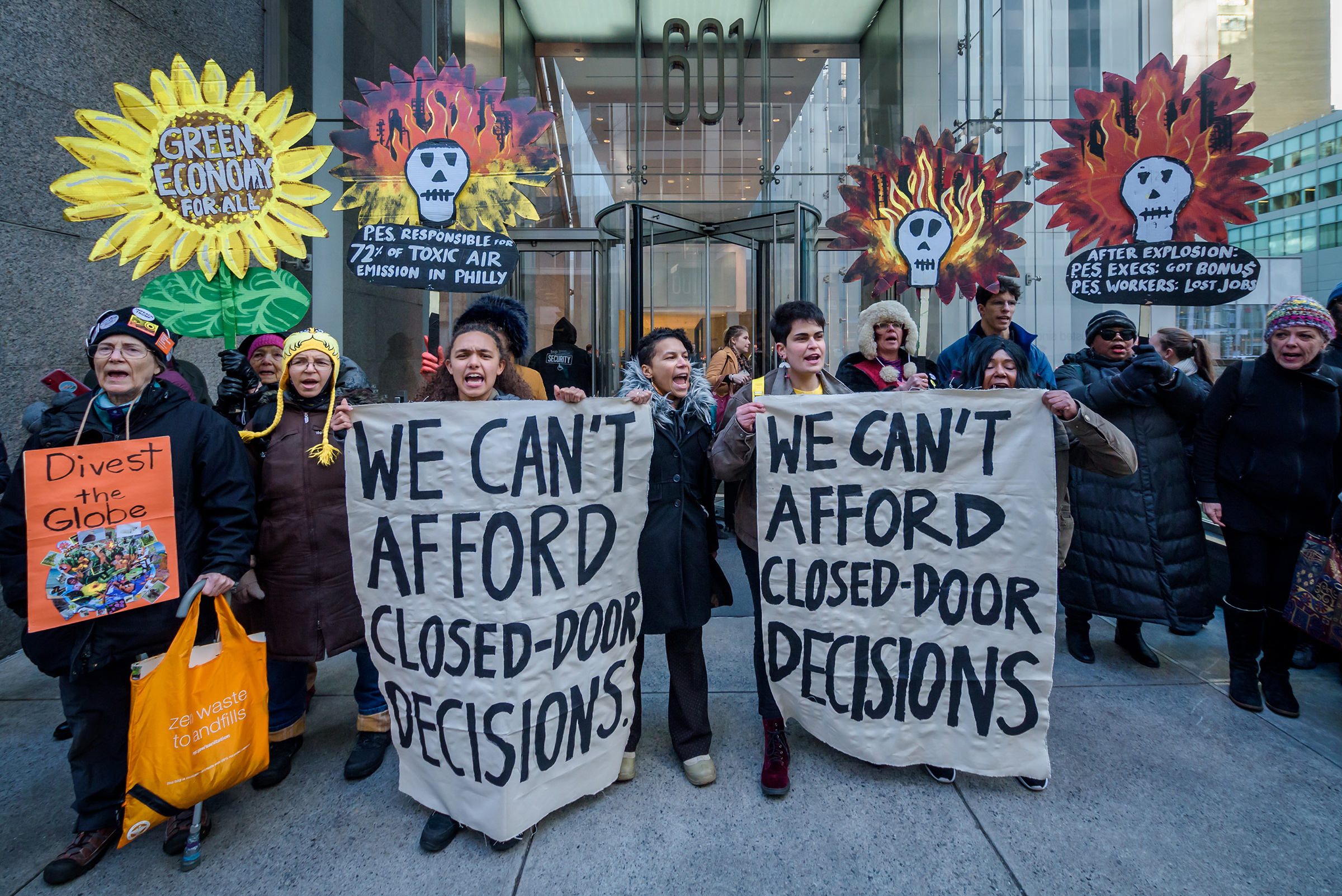 A Jan. 17 protest in opposition to the reopening of the Philadelphia Energy Solutions Refining Complex