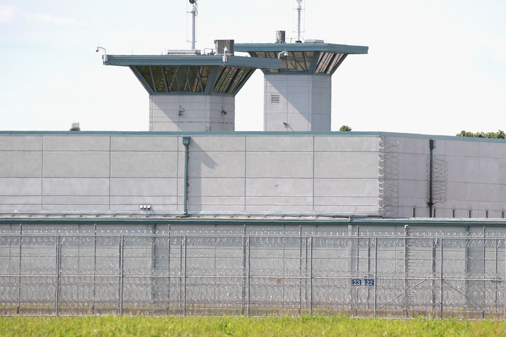 Guard towers rise above the grounds of the Federal Correctional Complex Terre Haute on July 25, 2019 in Terre Haute, Indiana.
